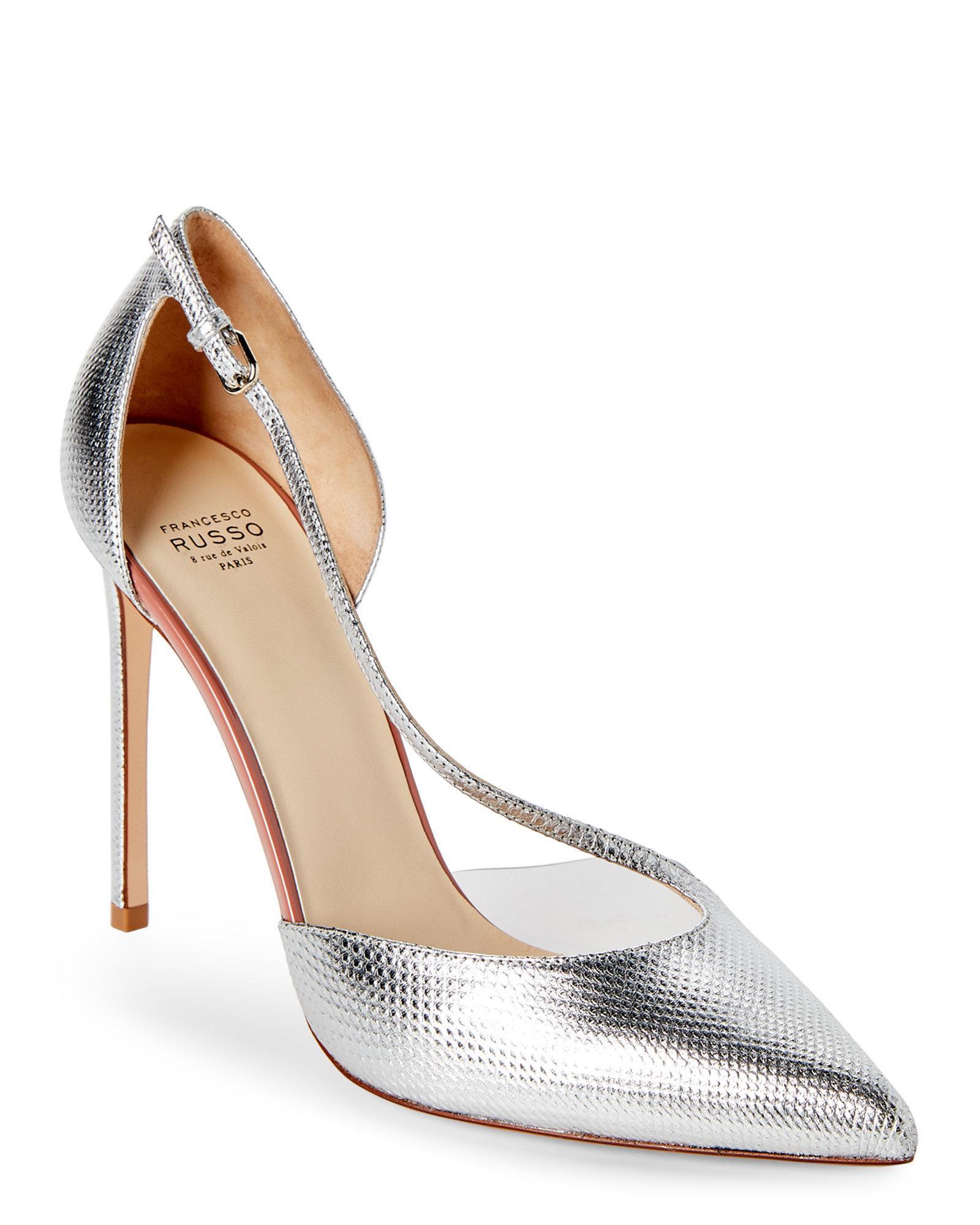 b08ba3e3975 Lyst - Francesco Russo Silver D orsay Pointed Toe Pumps in Metallic