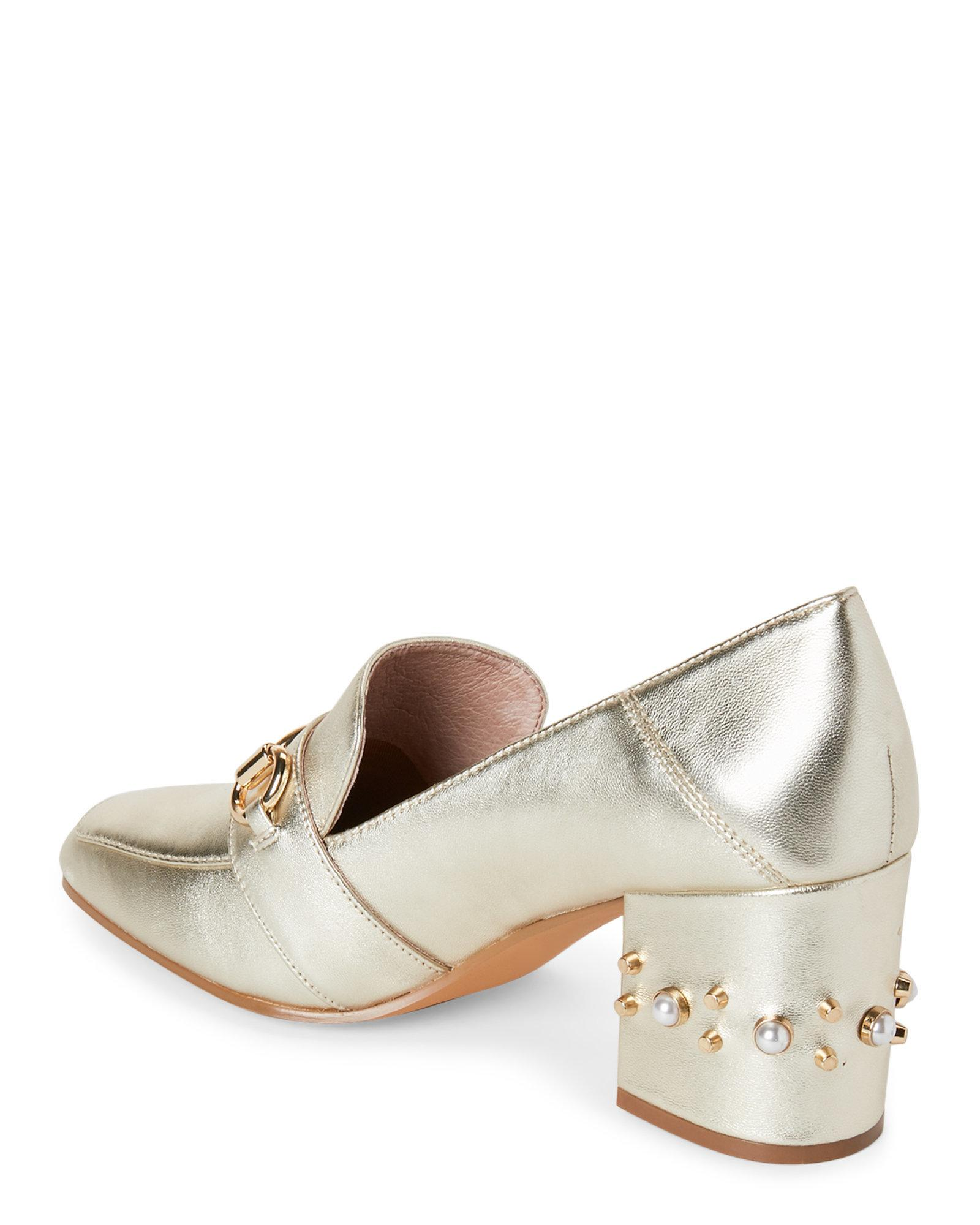 8a79d4a994e Lyst - Steven by Steve Madden Gold Layla Embellished Heel Loafers in ...