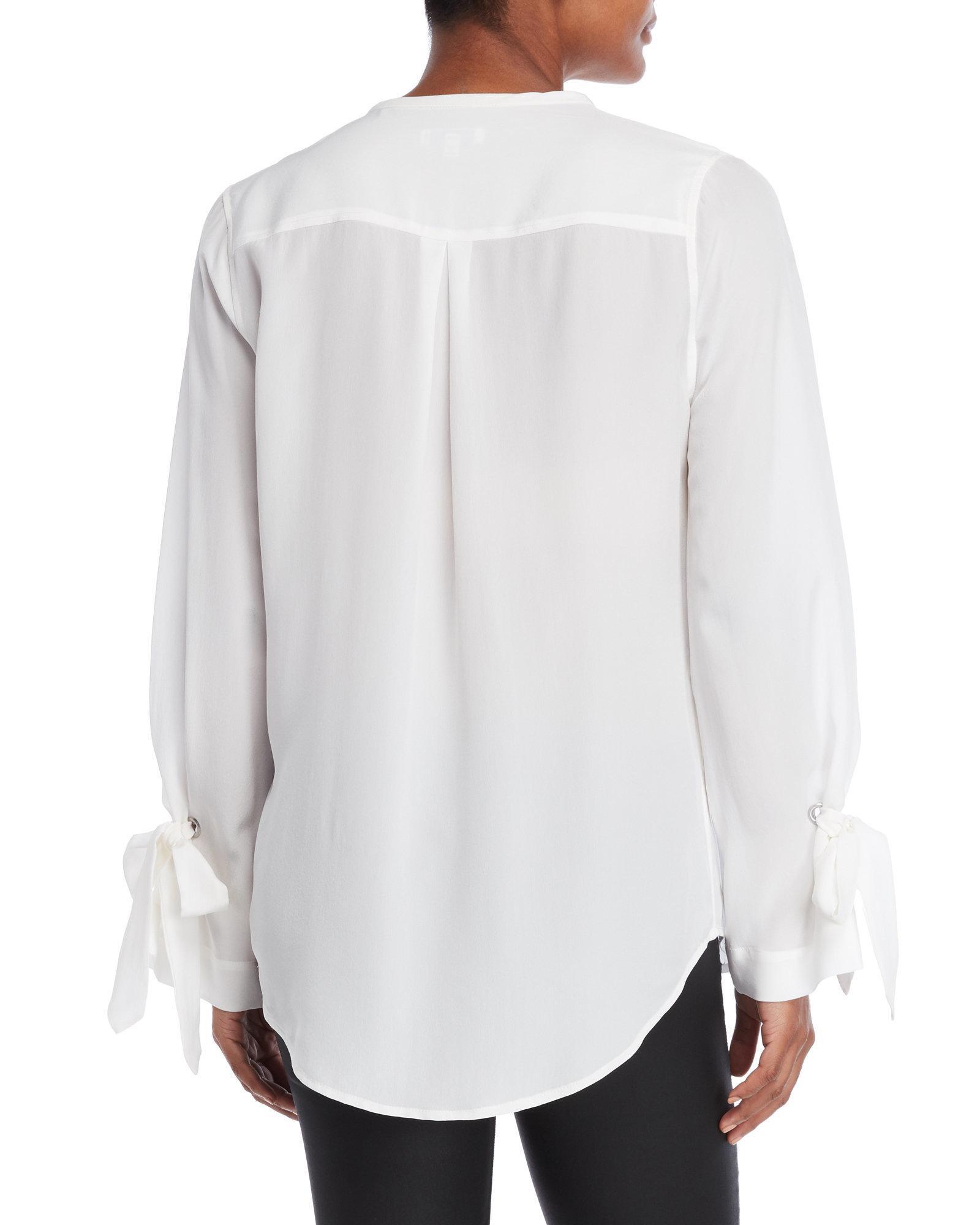61547c78db9078 Lyst - Equipment Sayer Silk Tie-sleeve Top in White