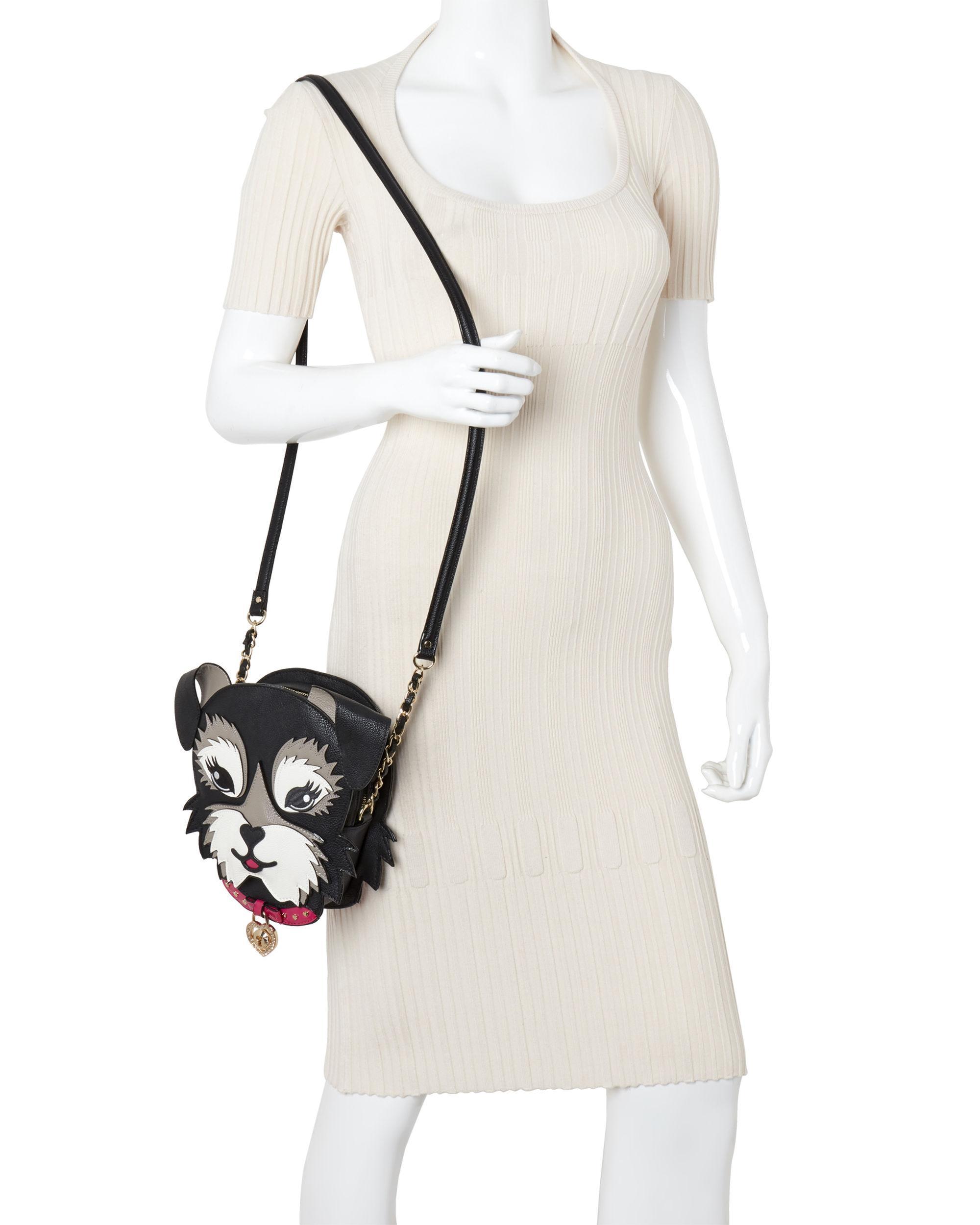 Betsey Johnson Black Kitch Fuzzy The Dog Crossbody Bag