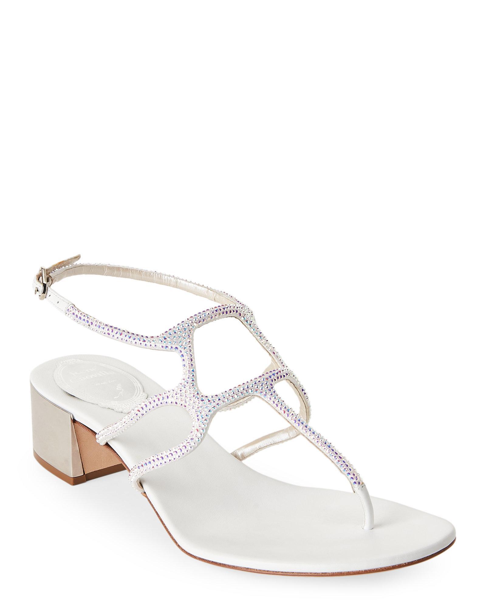 ea59699ec64 Lyst - Rene Caovilla White Crystal-embellished Strappy Block Heel ...