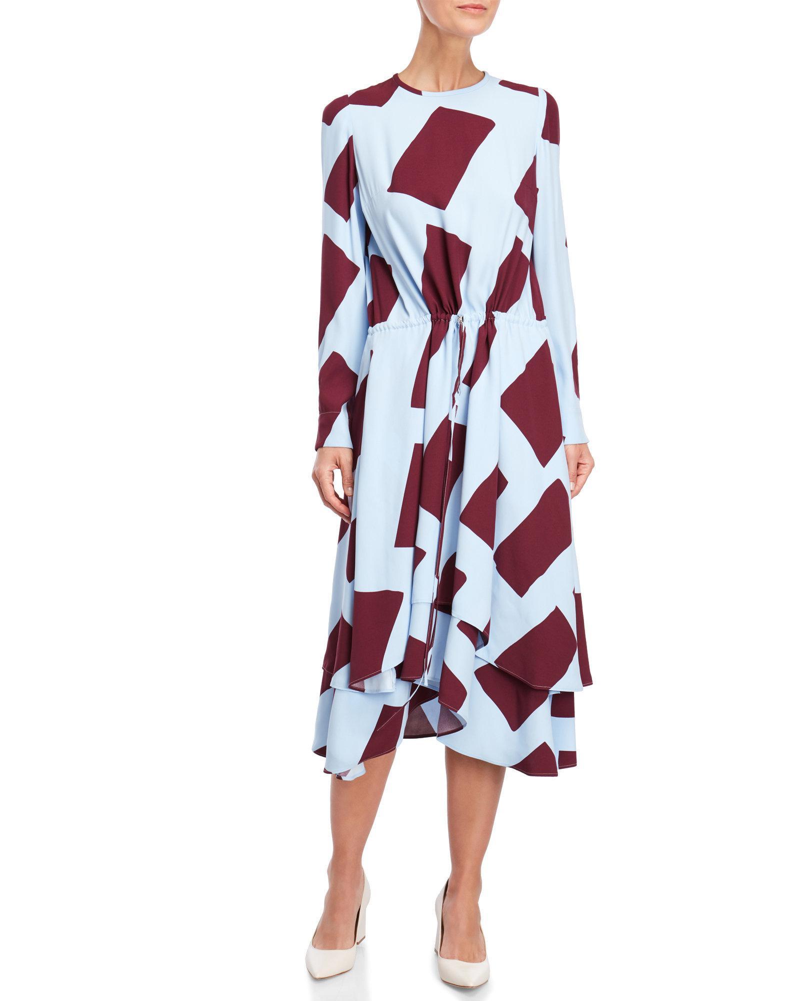 Printed Layer-Hem Midi Dress Cedric Charlier wYhrgr2px