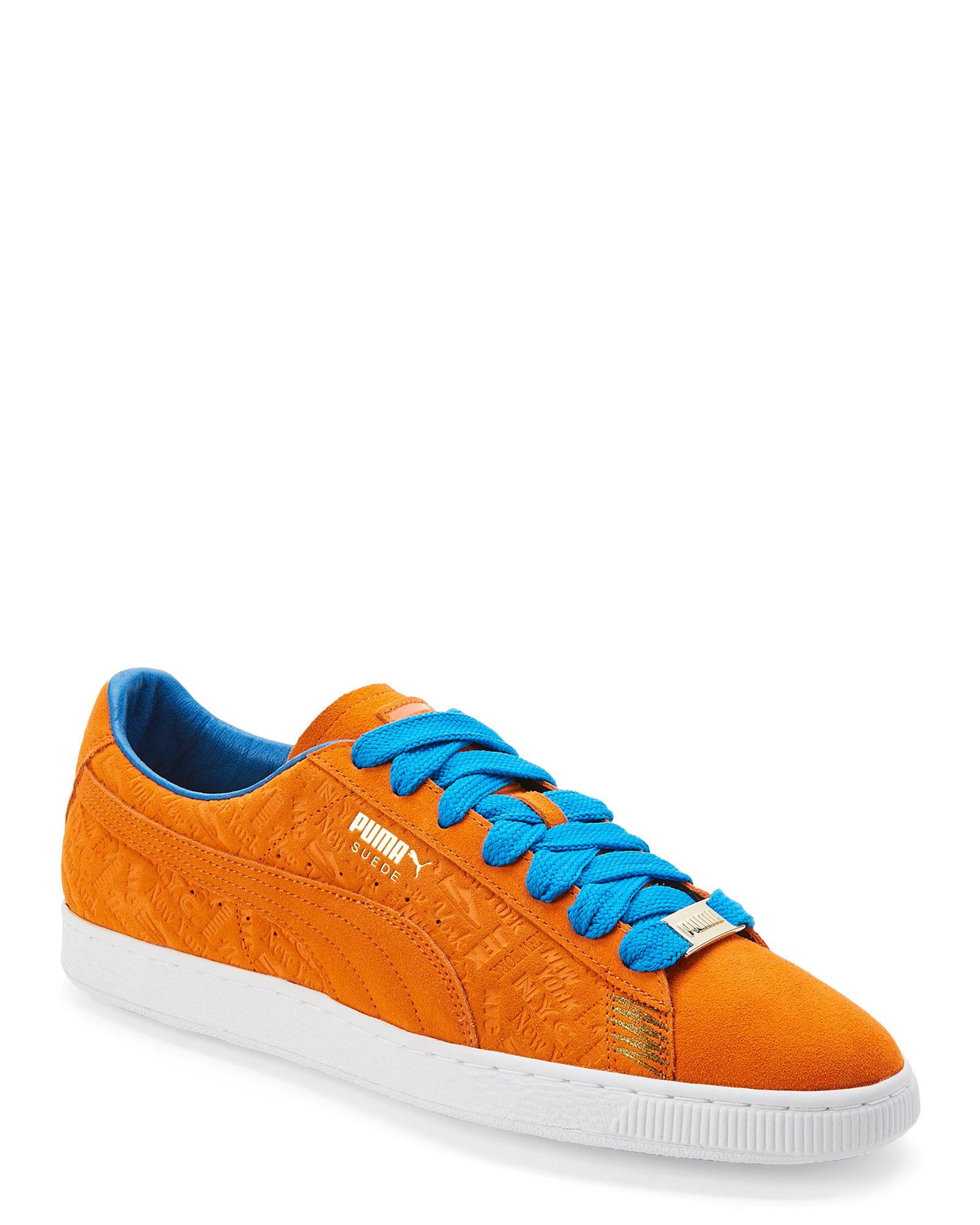 half off e337e abc9e Men's Orange & Blue Suede Classic New York Knicks Sneakers