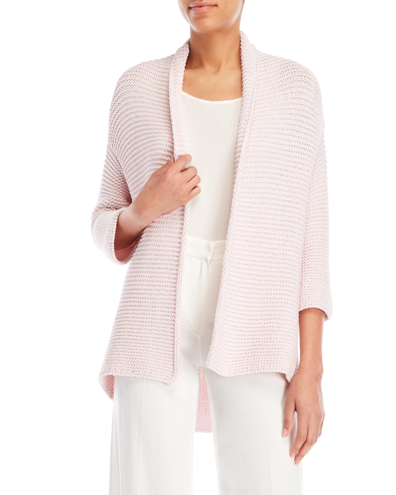 051e934eace6a Lyst - Les Copains Pink Lurex Open Cardigan in Pink