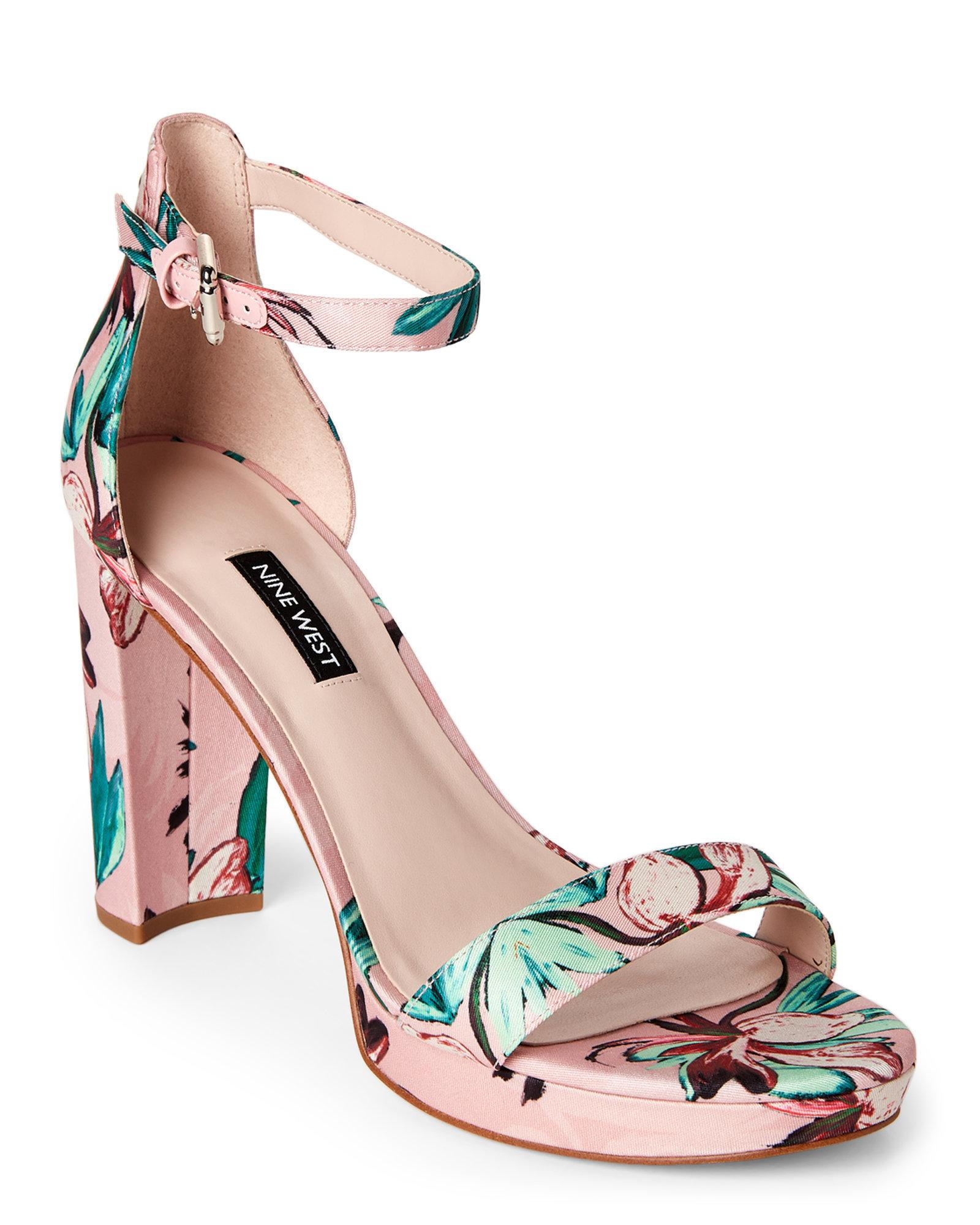 b5b5ae902b4cc8 Lyst - Nine West Pink Dempsey Floral Satin Block Heel Sandals in Pink