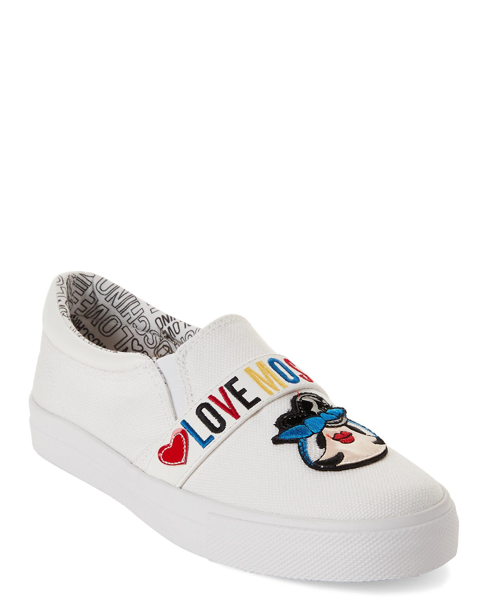 c291dc50112 Lyst - Love Moschino White Logo Canvas Slip-on Sneakers in White