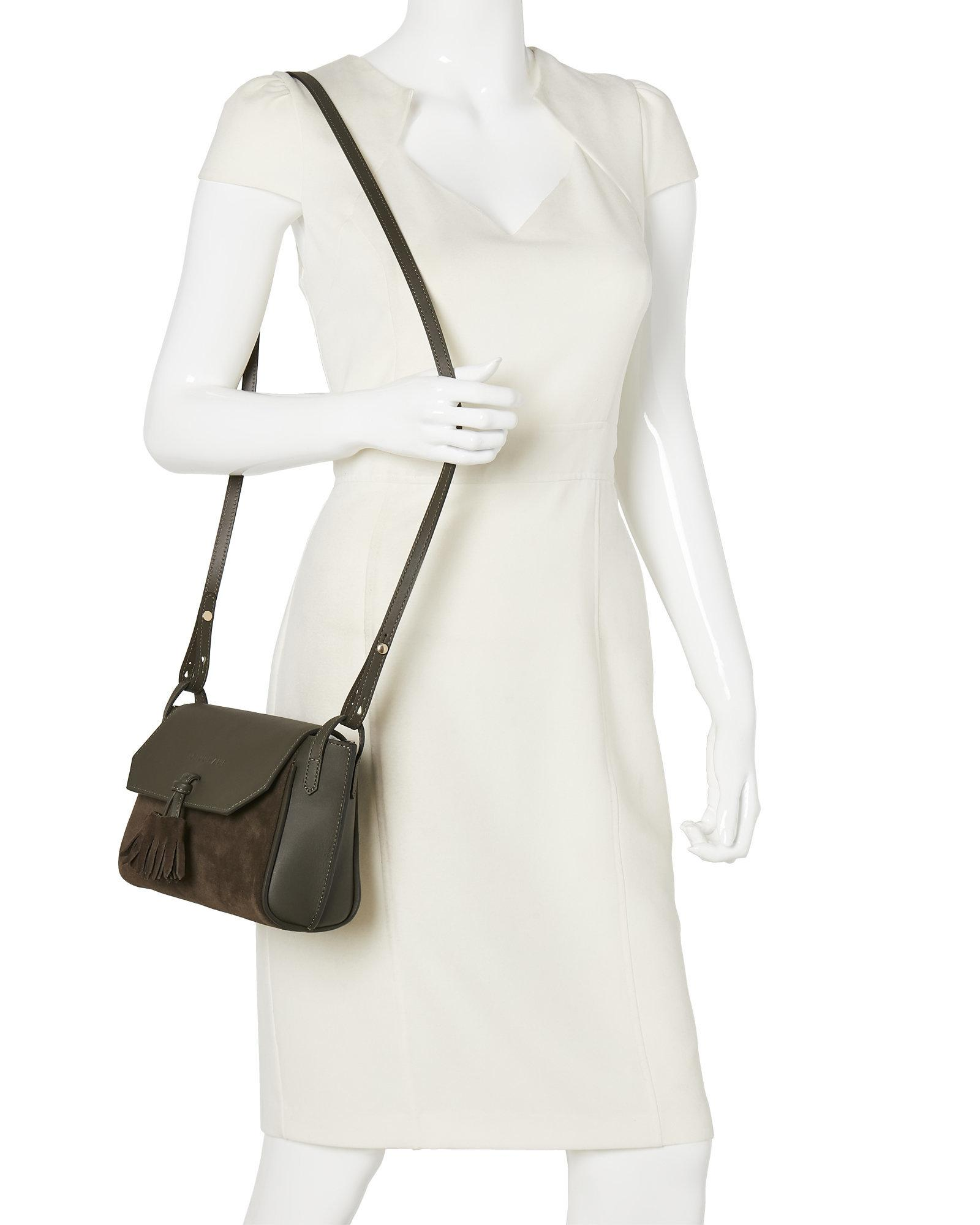 lyst longchamp khaki p n lope soft leather crossbody in natural. Black Bedroom Furniture Sets. Home Design Ideas