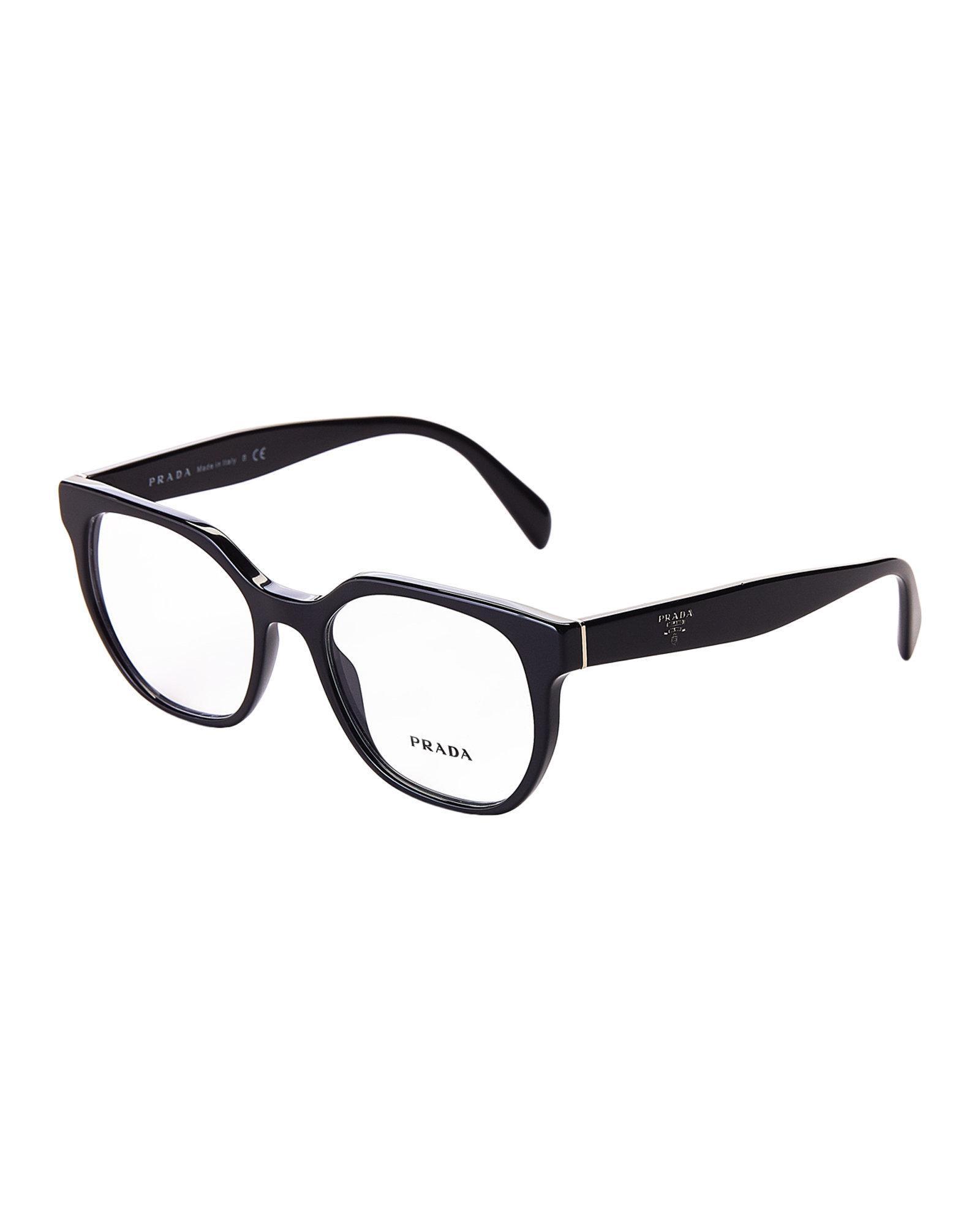 Lyst - Prada Vpr 02u Black Round Optical Frames in Black