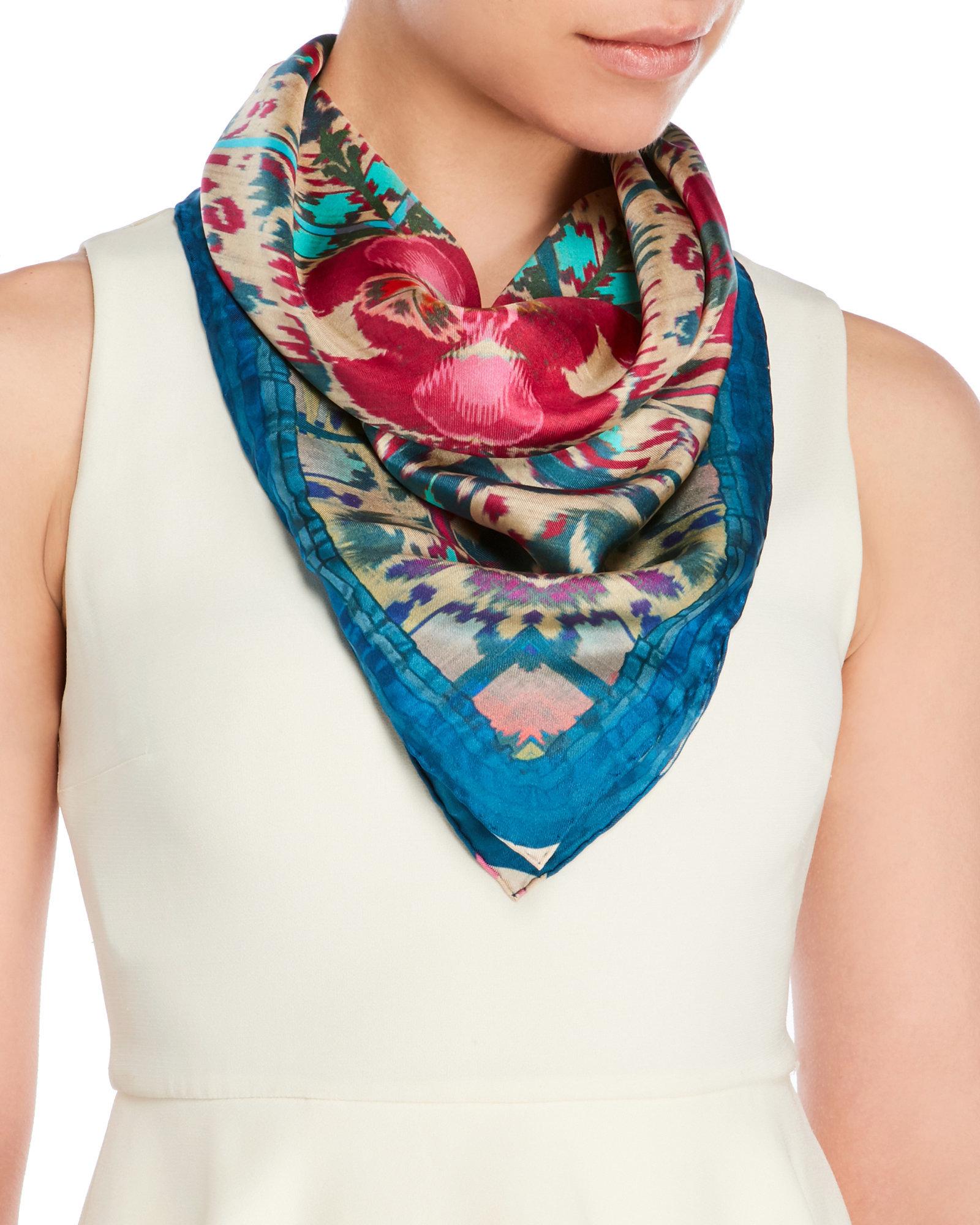 christian lacroix printed silk scarf lyst