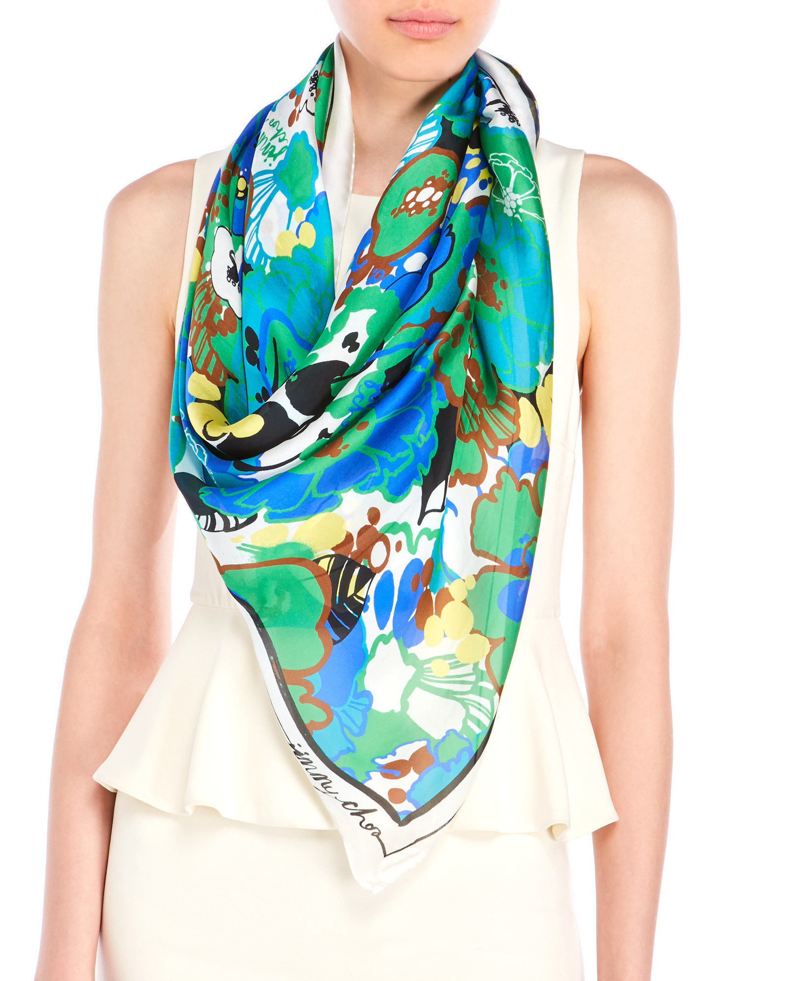 jimmy choo blue floral print silk scarf in blue lyst