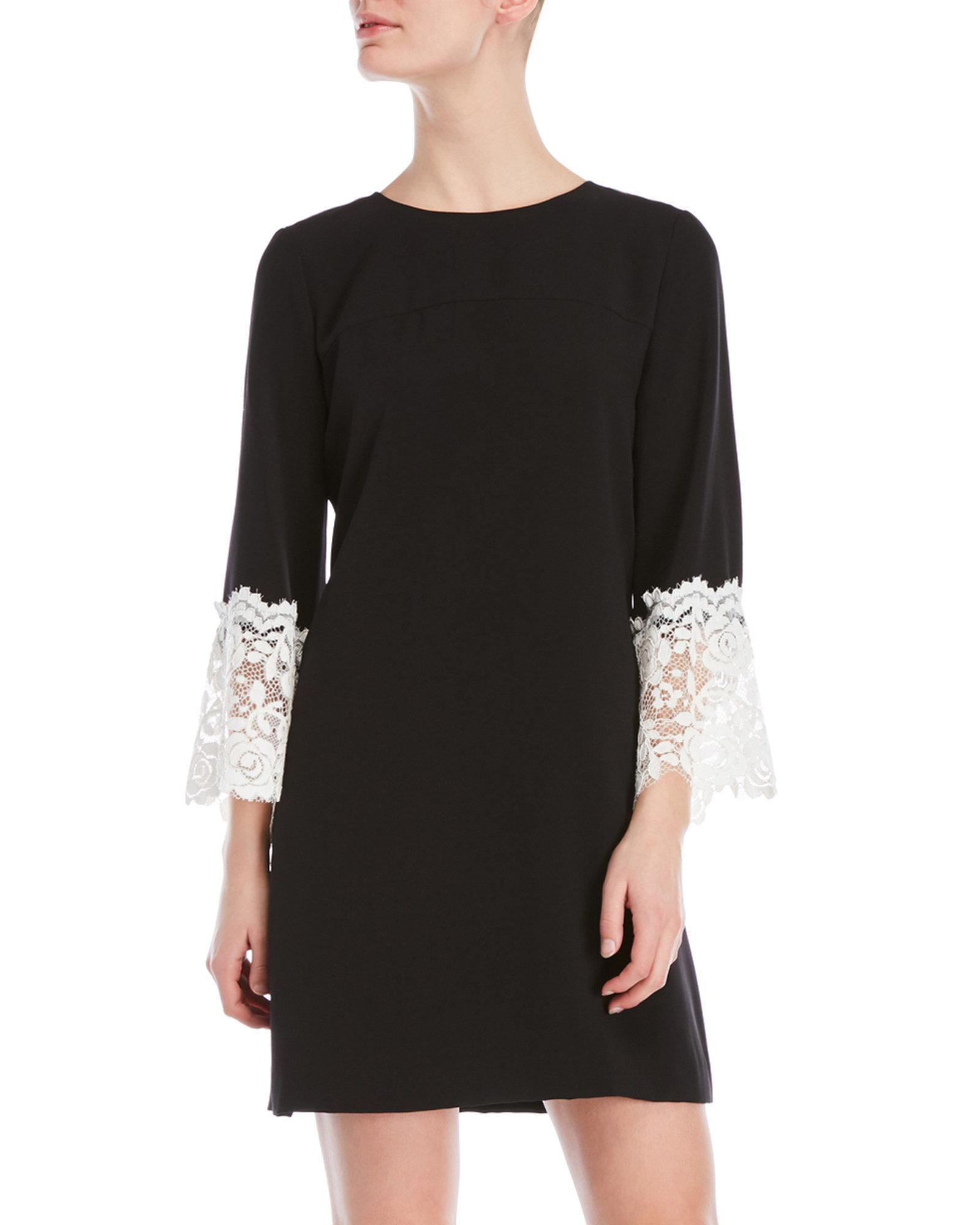 Crepe Lace Bell Sleeve Dress