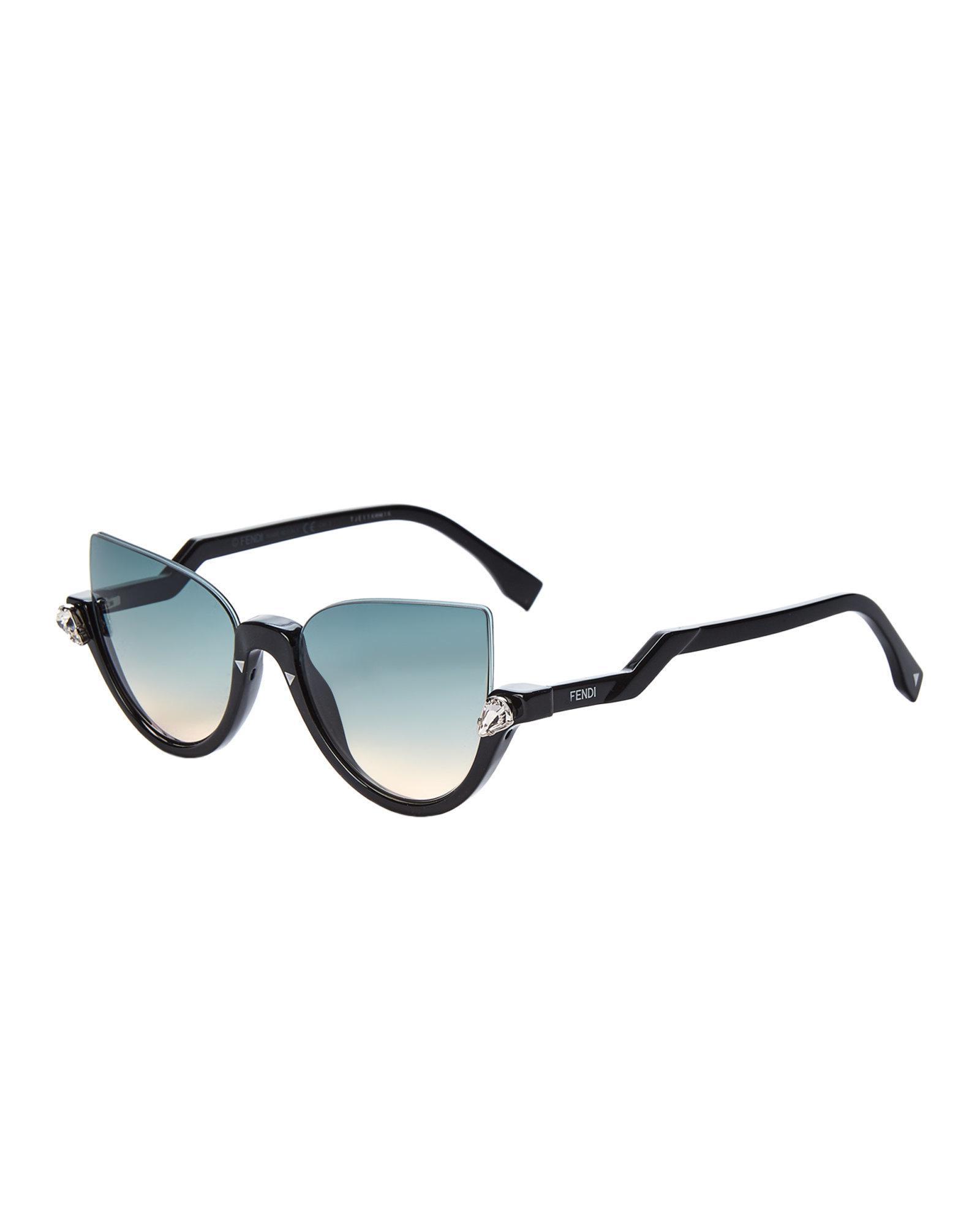864a8ad3eb Lyst - Fendi Ff0138 s Black Half-rim Sunglasses in Black