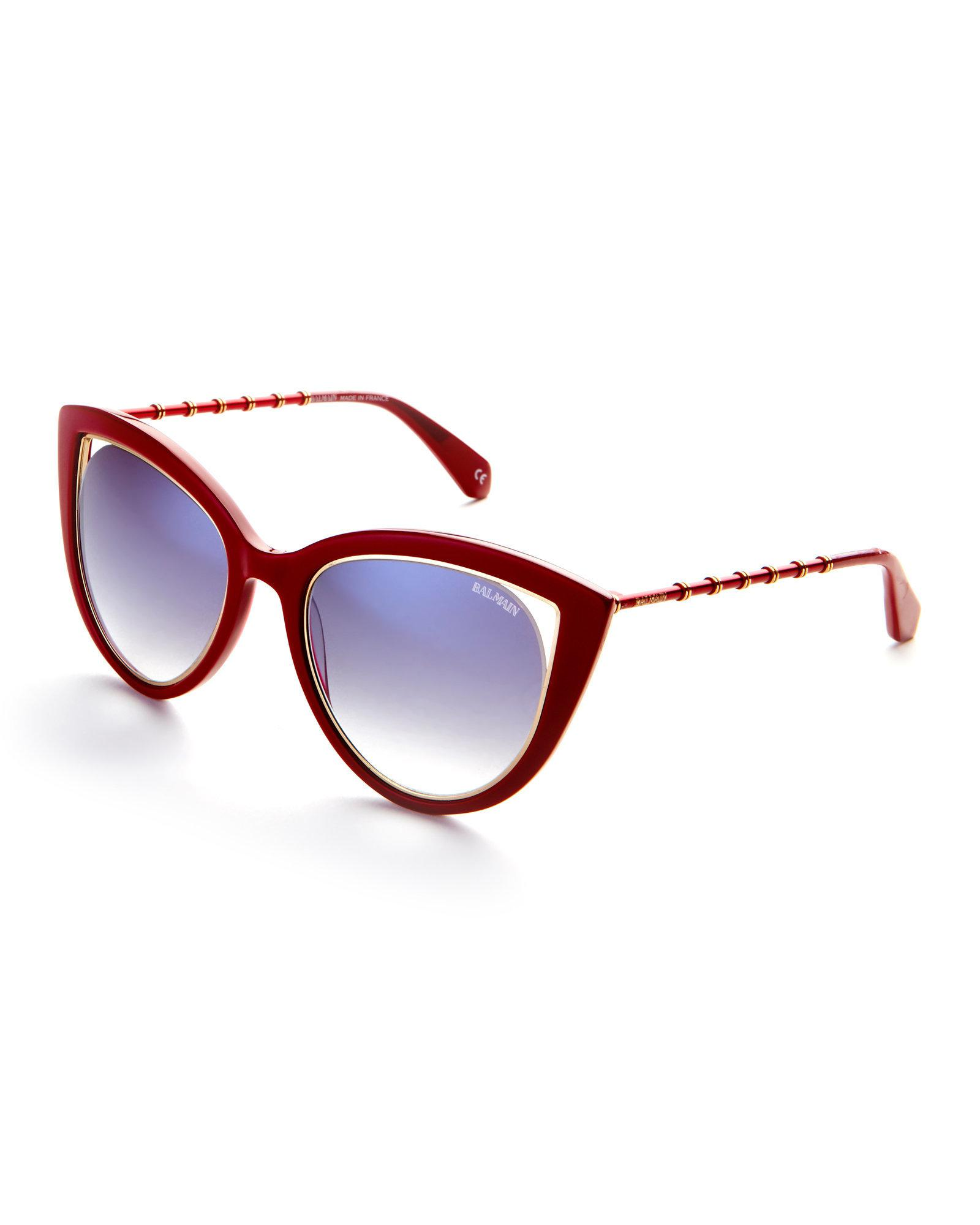 b6acc85b80 Lyst balmain red cat eye sunglasses in red jpg 1600x2000 Balmain sunglasses