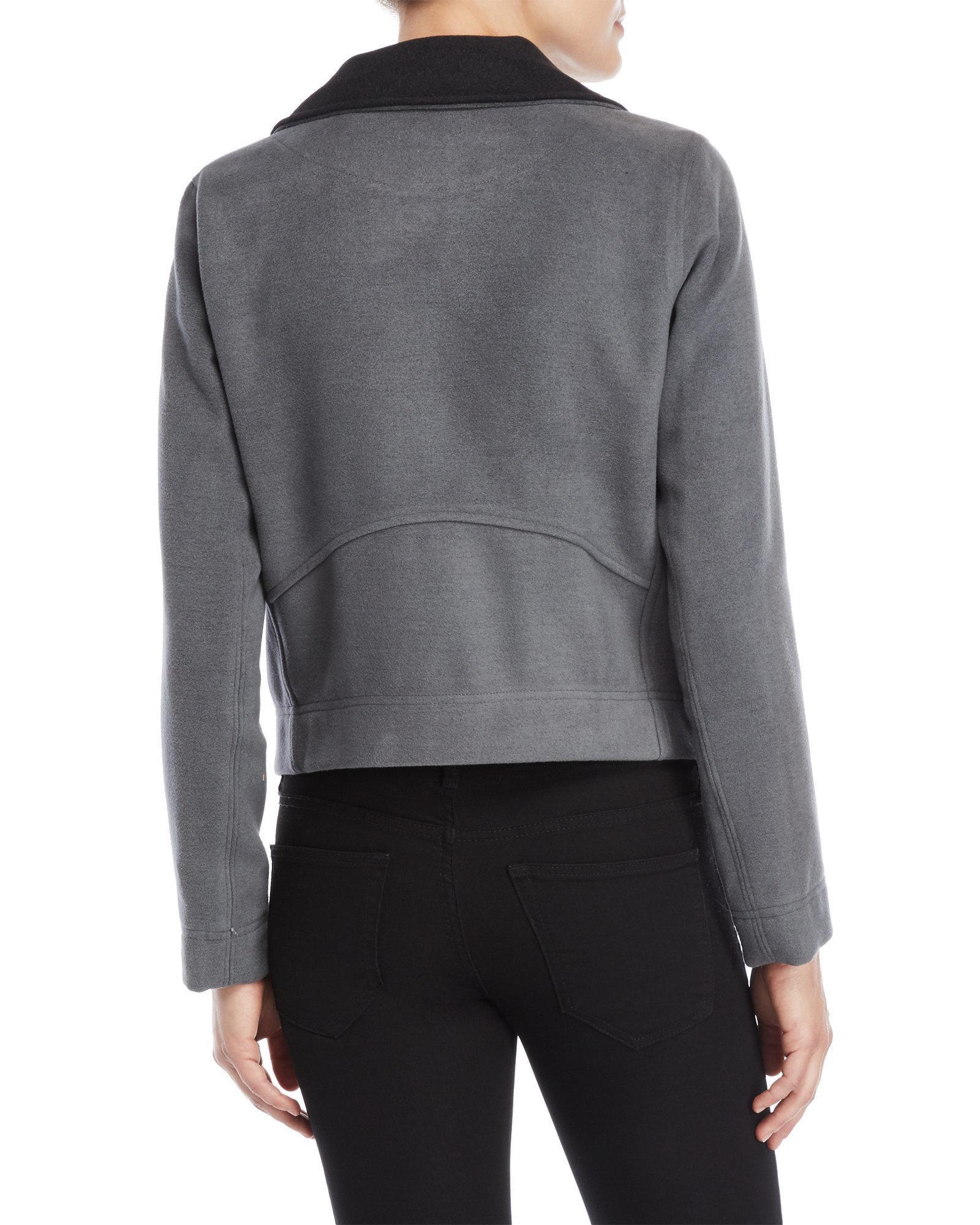 89de04414 Lilla P Gray Double Face Wool Moto Jacket