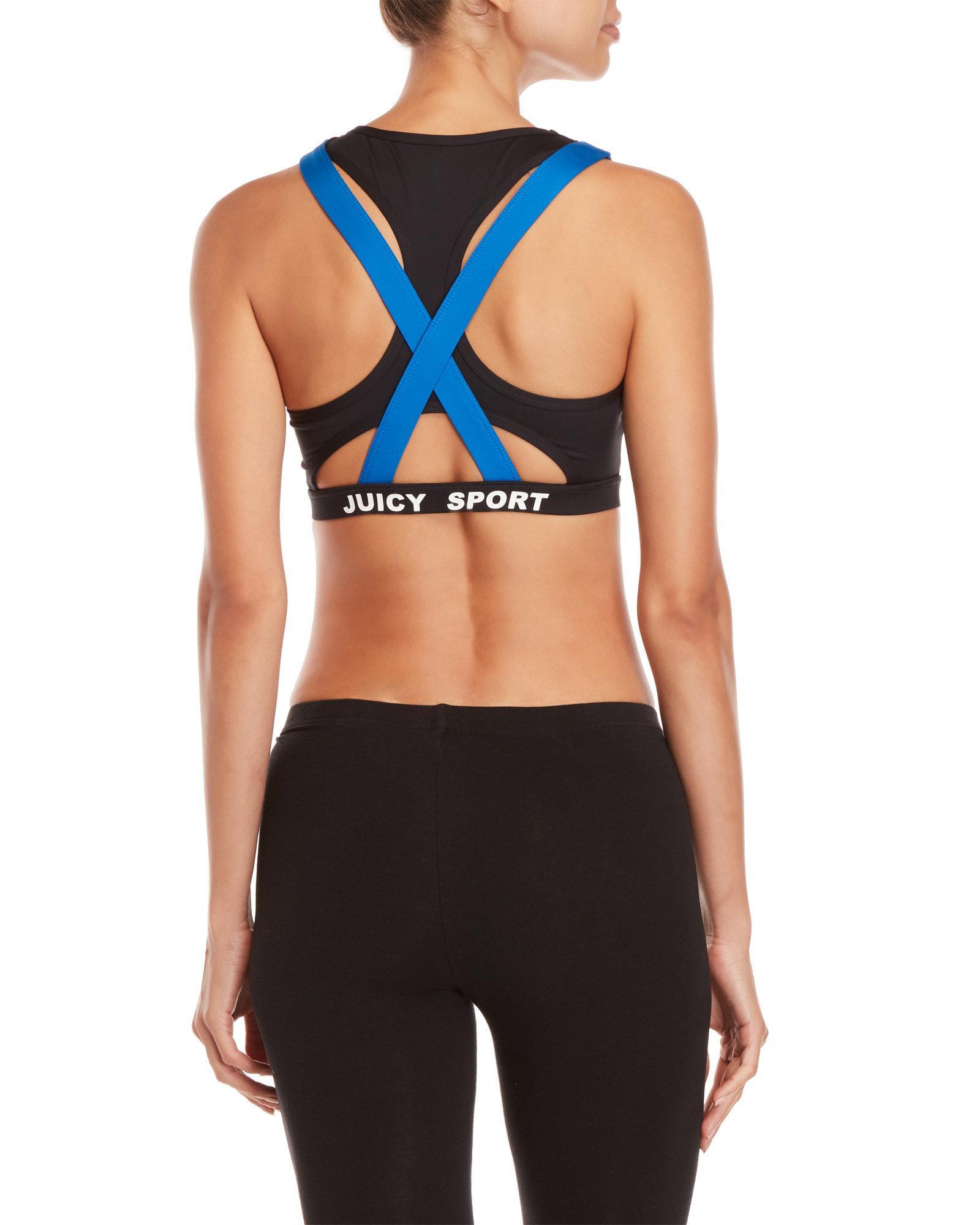 3c8af6e78a33f Lyst - Juicy Couture 2fer Halter Sports Bra in Black