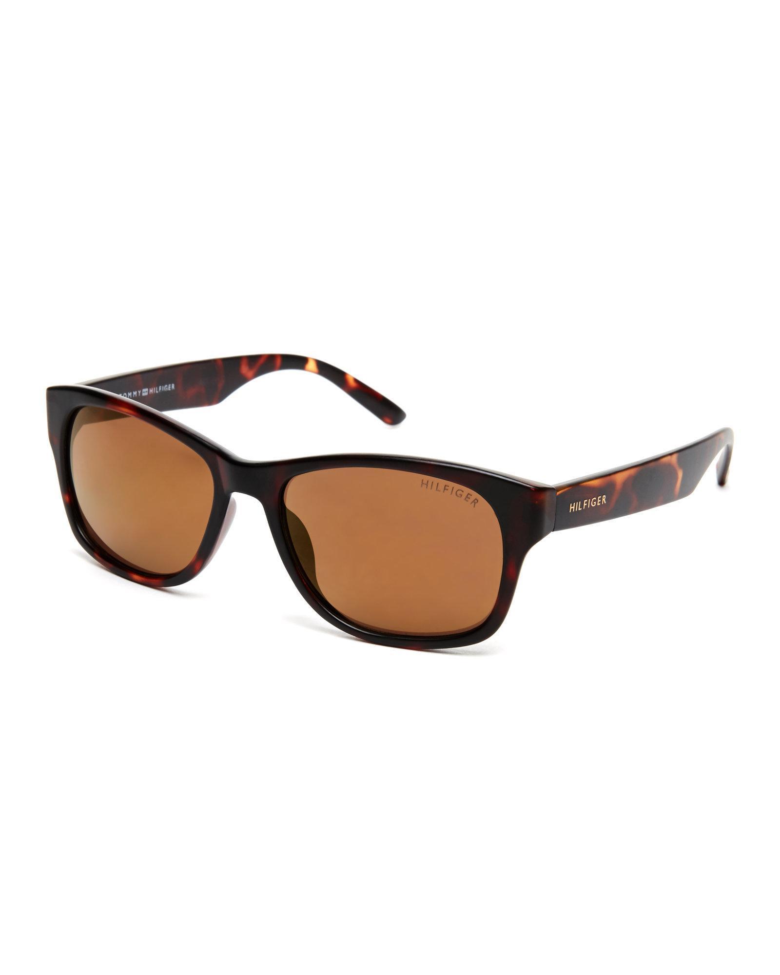 3183aed2b6a Tommy Hilfiger. Women s Brown Tortoiseshell-Look Leo Wayfarer Sunglasses