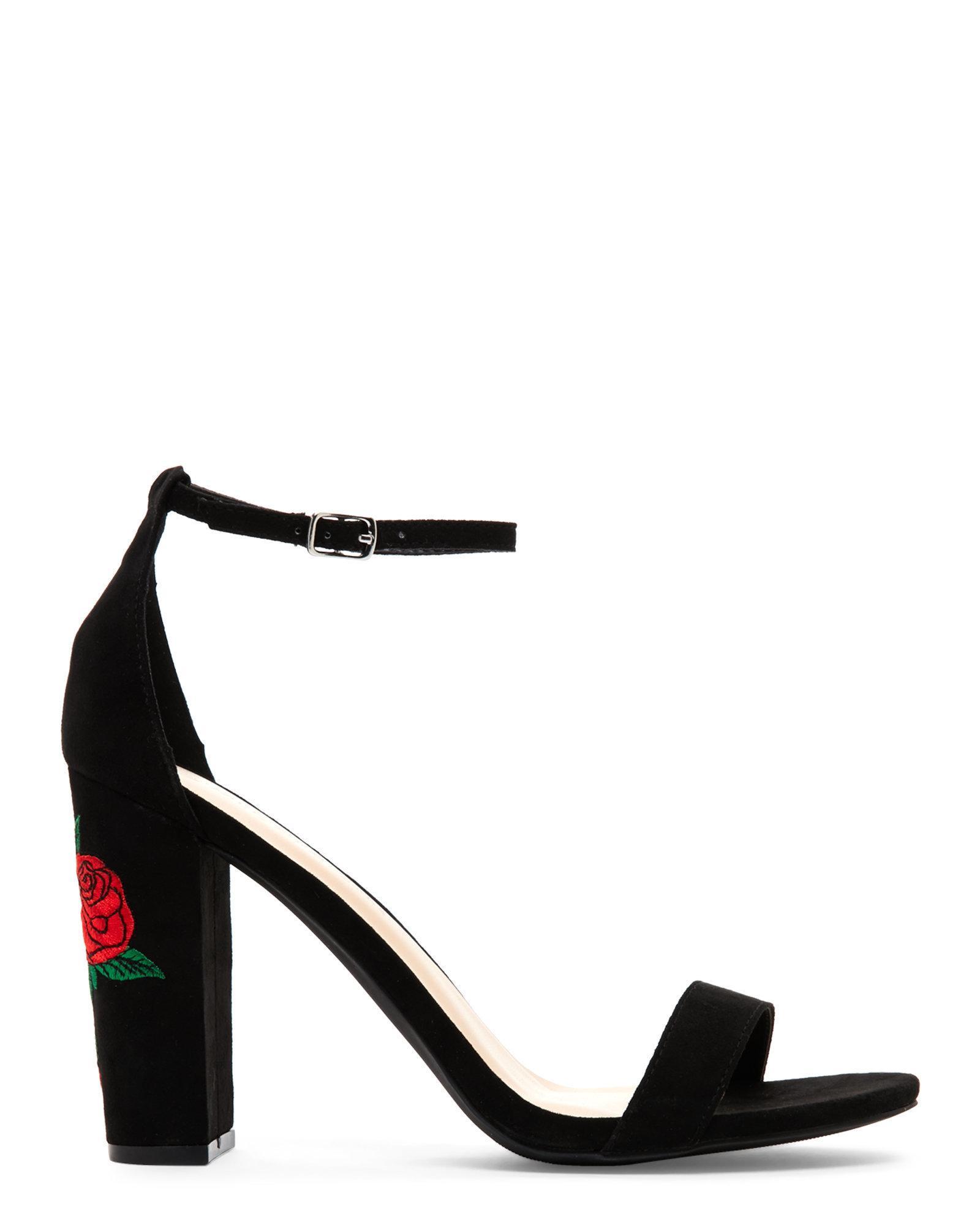 f81e9761b4 Wild Diva Black Morris Embroidered Block Heel Sandals in Black - Lyst