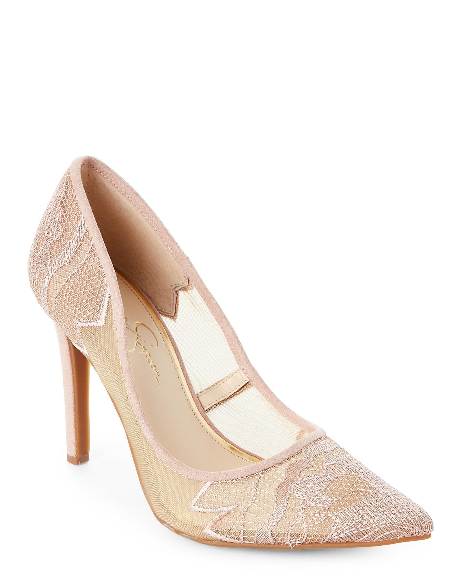 c89c40d2543 Jessica Simpson Natural Nude Blush Camba Lace Pointed Toe Pumps