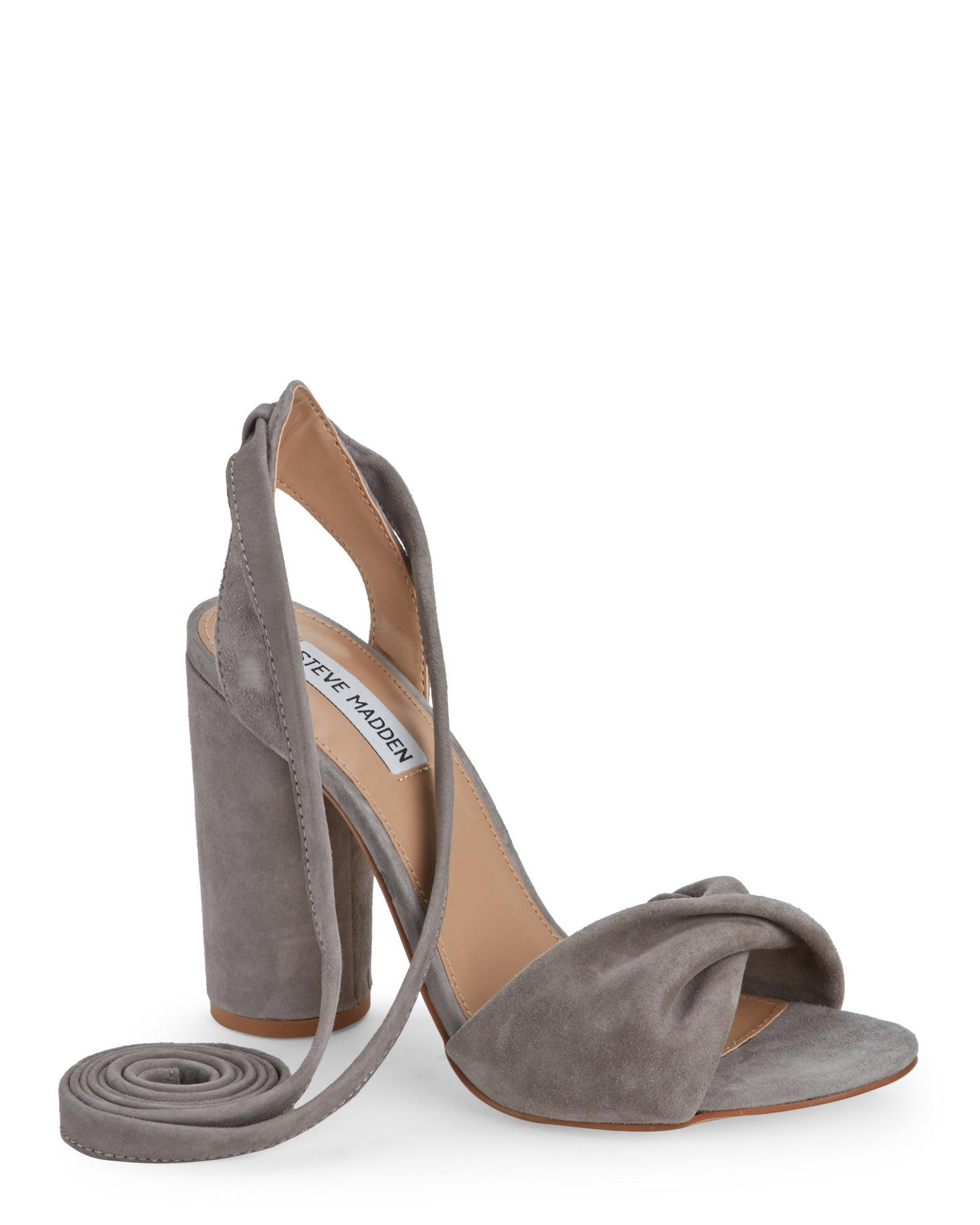 cb931b4c65e Lyst - Steve Madden Grey Clary Ankle Wrap Sandals in Gray