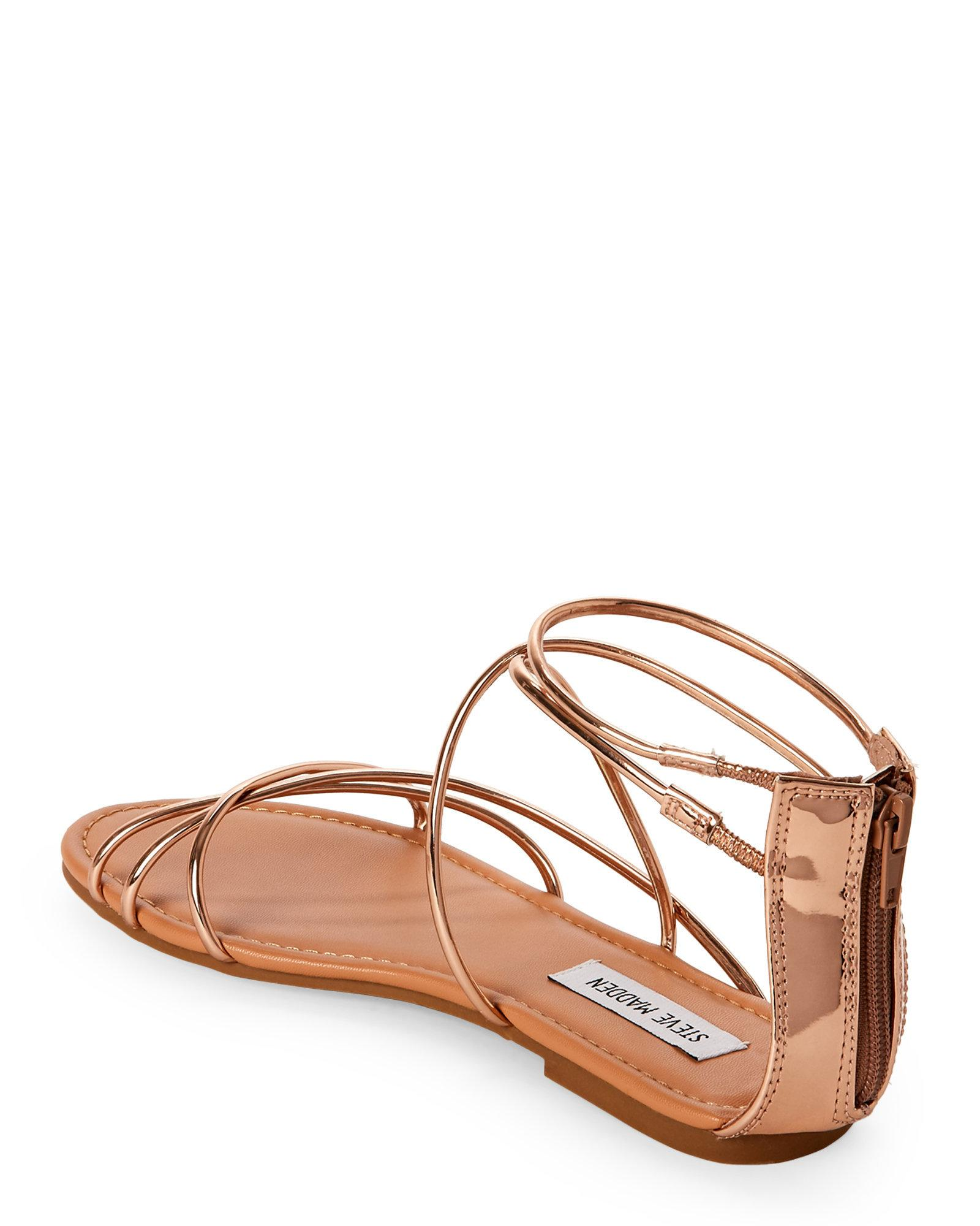 82e666d954dd Lyst - Steve Madden Rose Gold Sapphire Strappy Flat Sandals in Metallic
