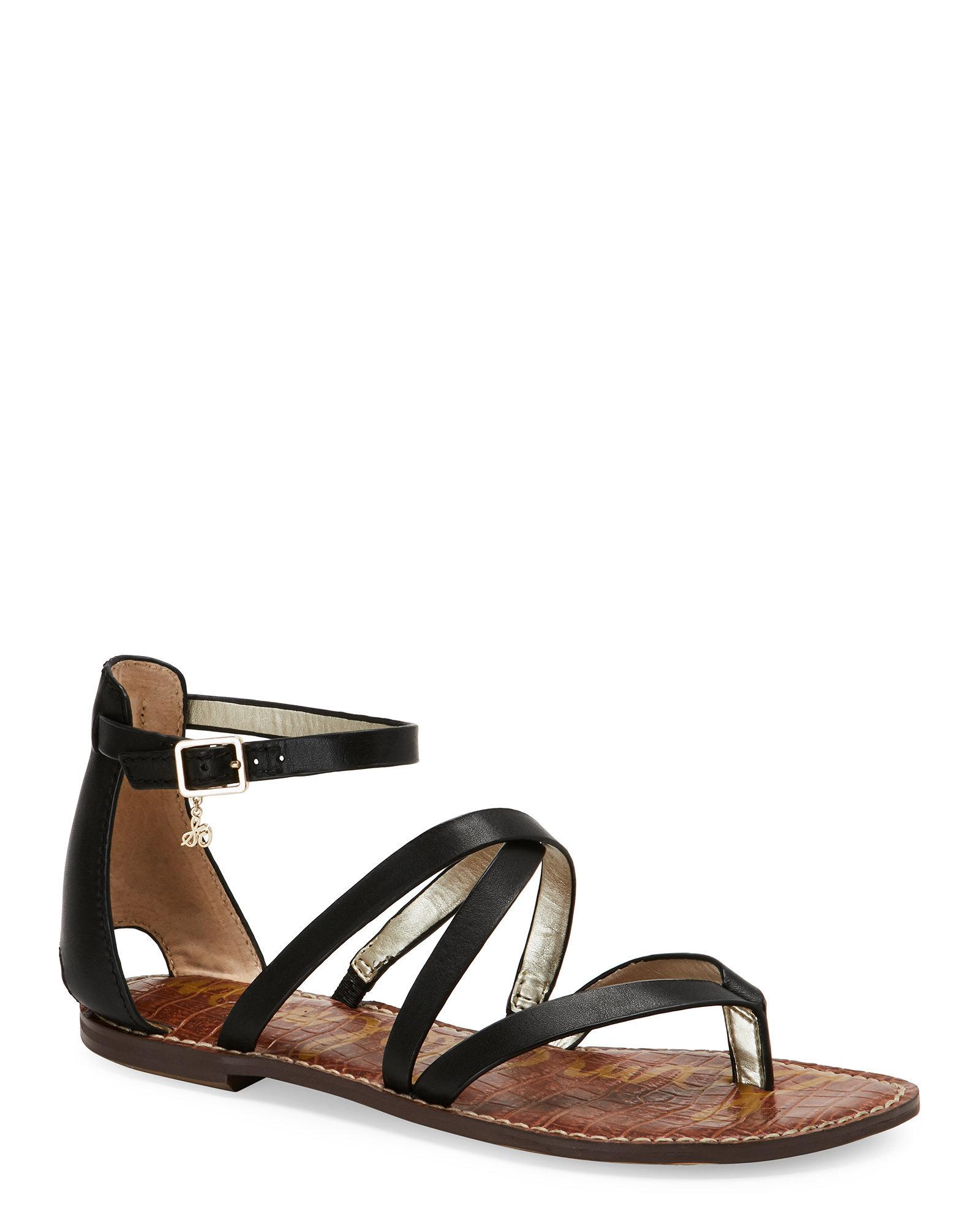 sam edelman black gilroy strappy flat sandals in black lyst