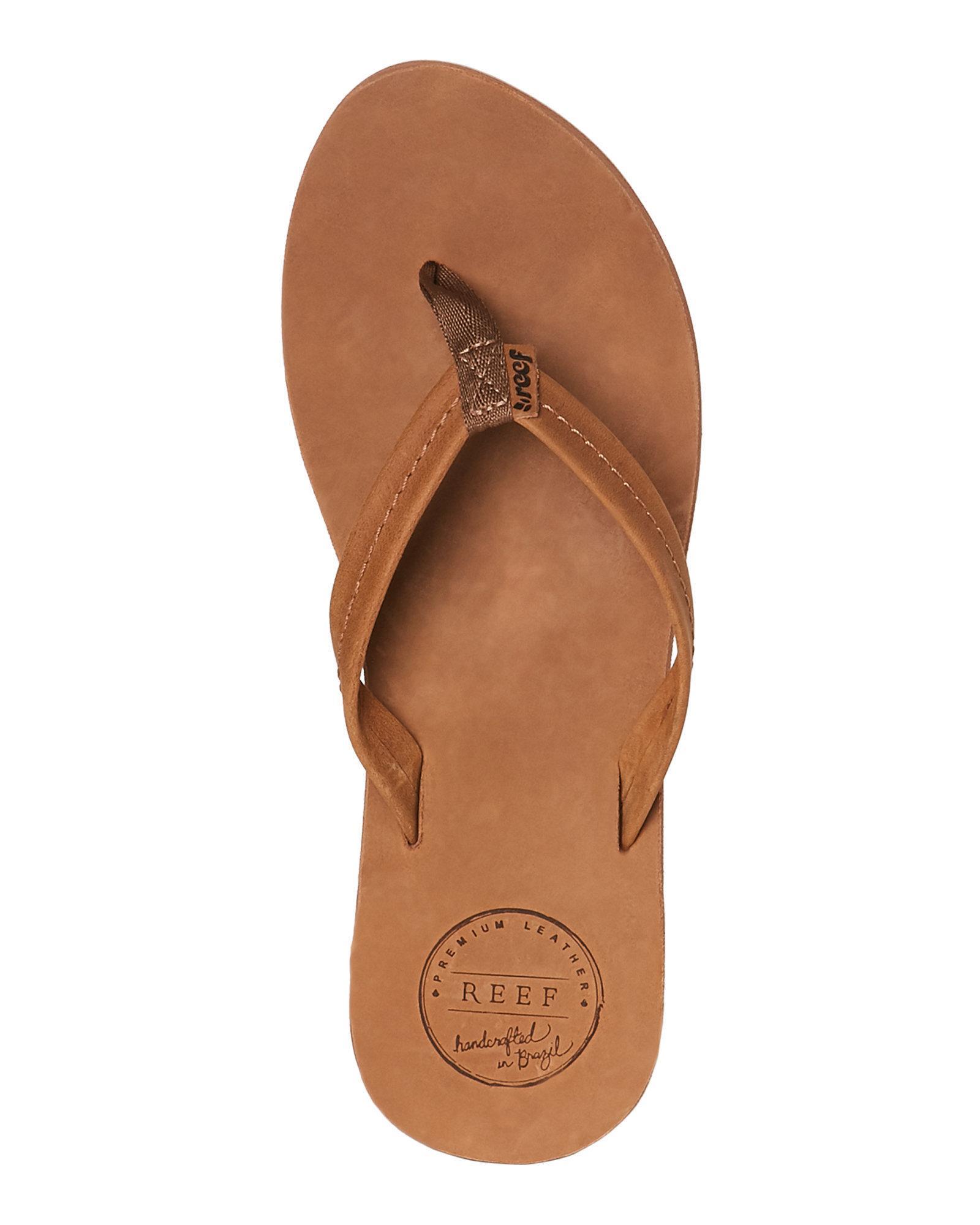 kwaliteit nieuwe high nieuwe afbeeldingen van Reef Brown Tobacco Chill Leather Flip Flops