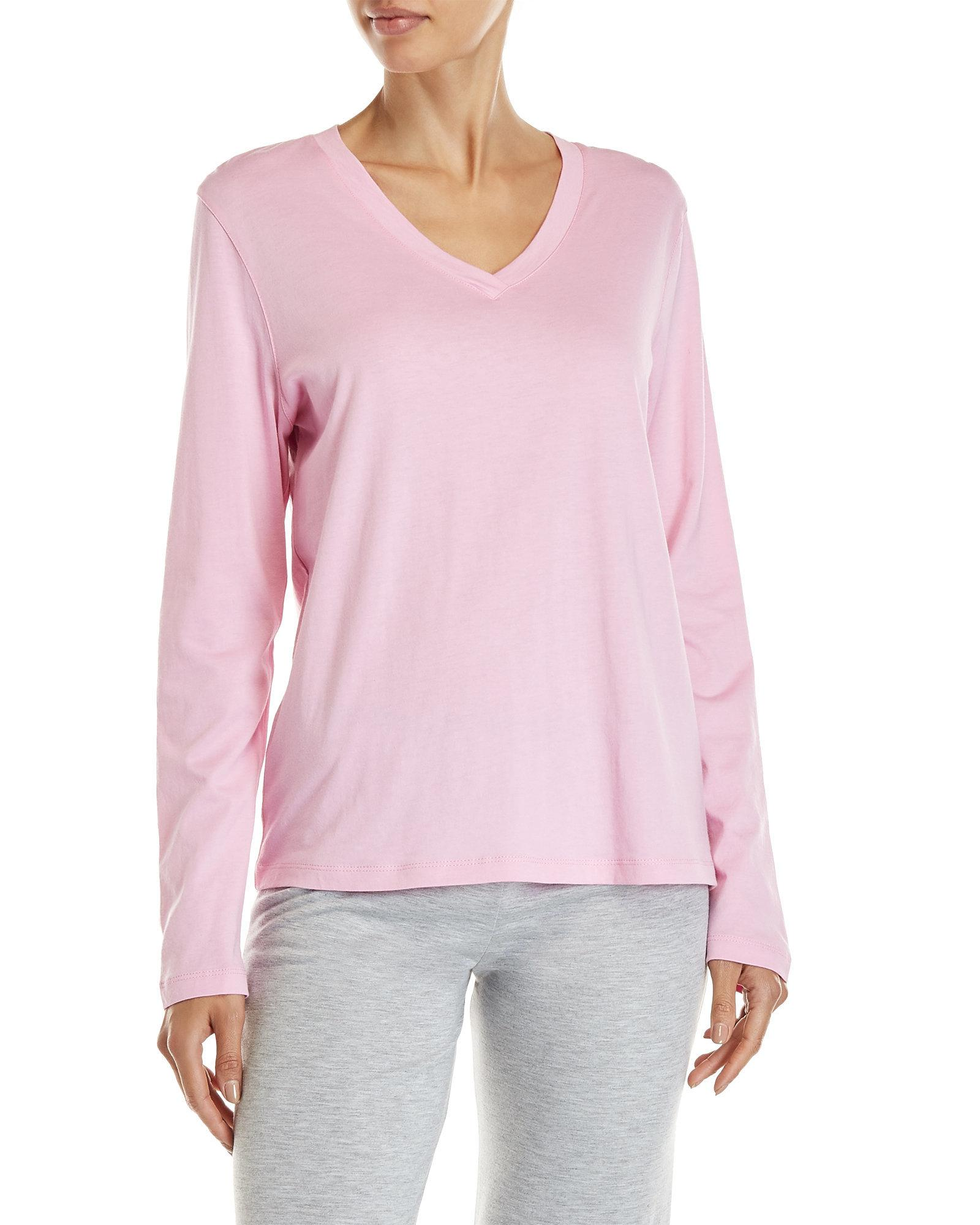 Lyst - Hue Long Sleeve V-neck Sleep Tee in Pink 6c8314221