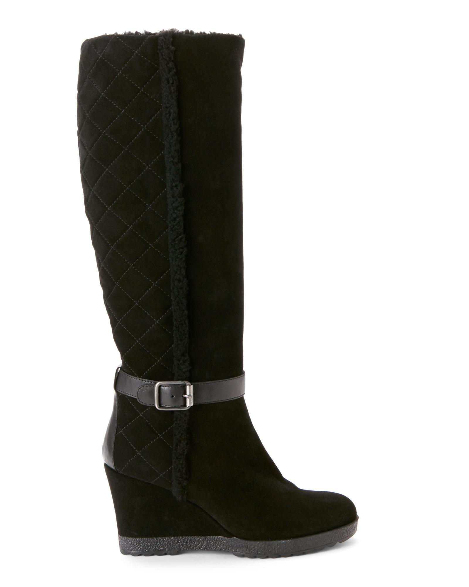 aquatalia black christine quilted weatherproof wedge boots