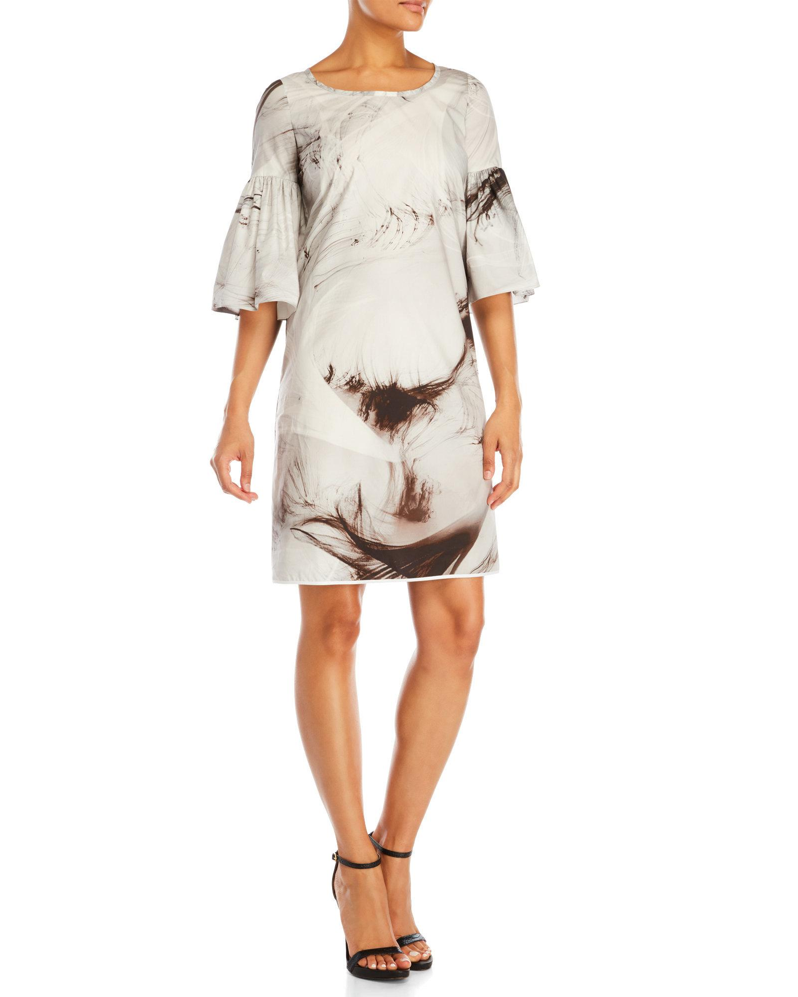 carmen marc valvo tawny printed cocktail dress