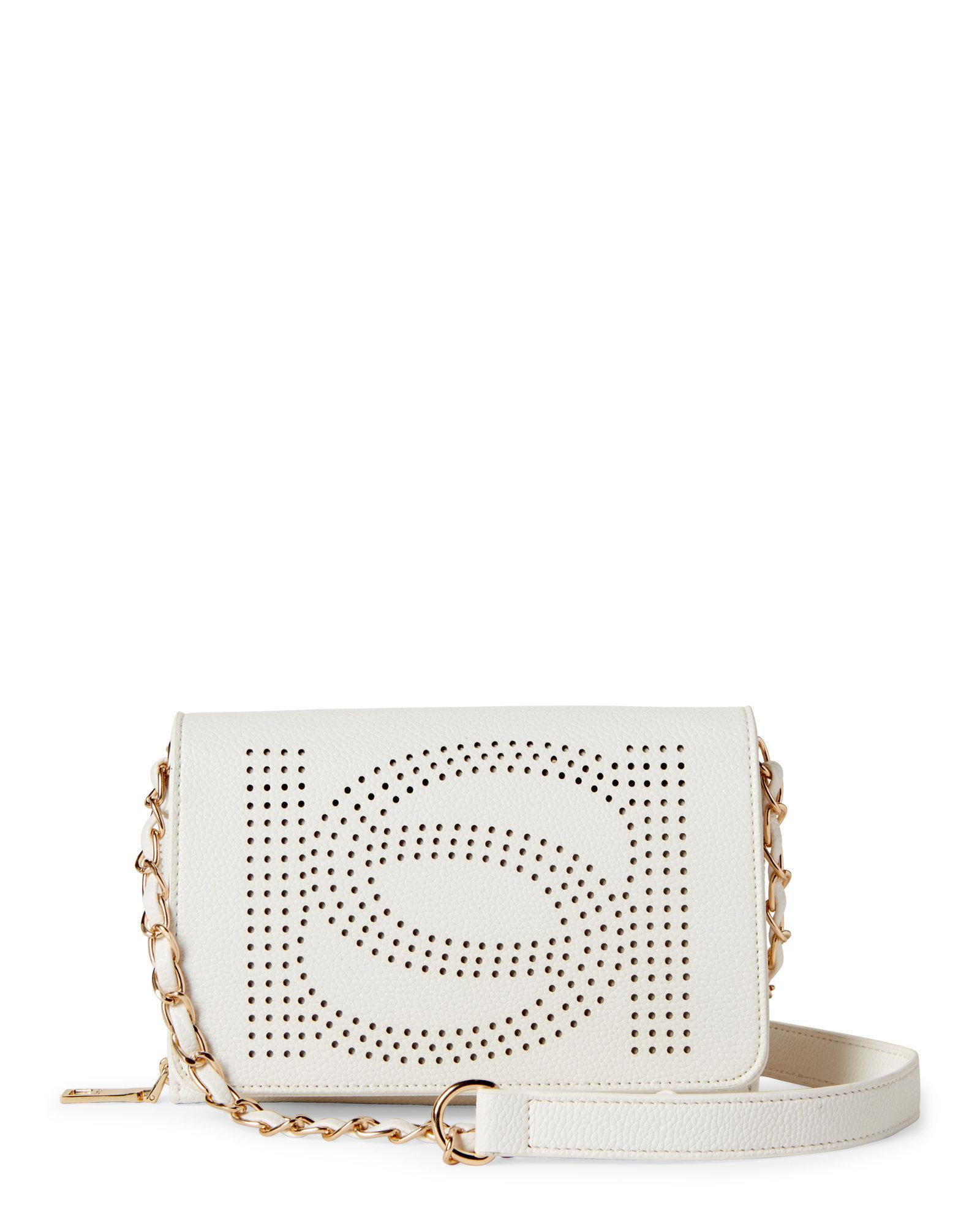 cc0e30abc6 Lyst - Bebe Holly Perforated Logo Crossbody in White