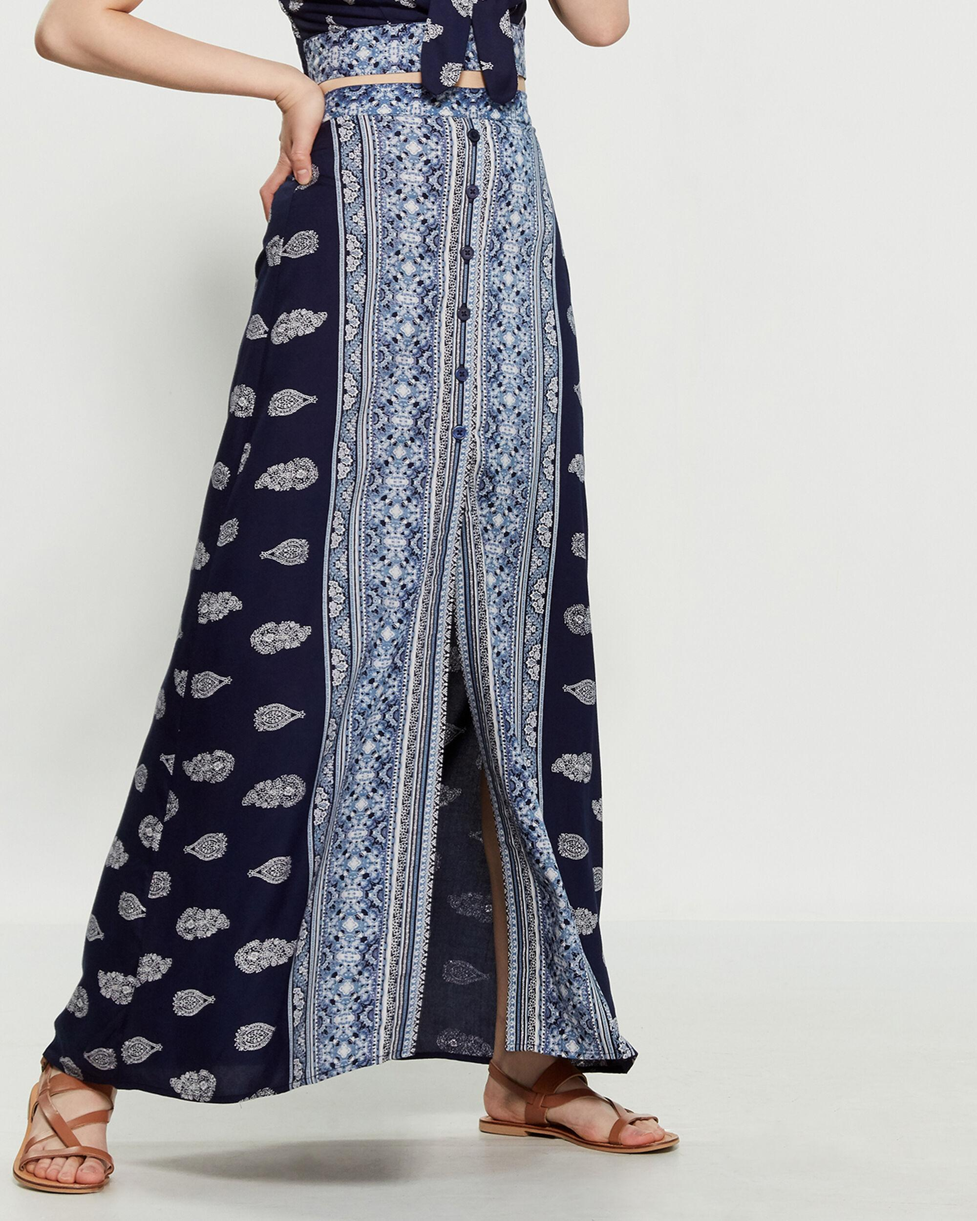 5a92f0ec9b87f6 Band Of Gypsies Bandana Print Button Front Maxi Skirt in Blue - Lyst