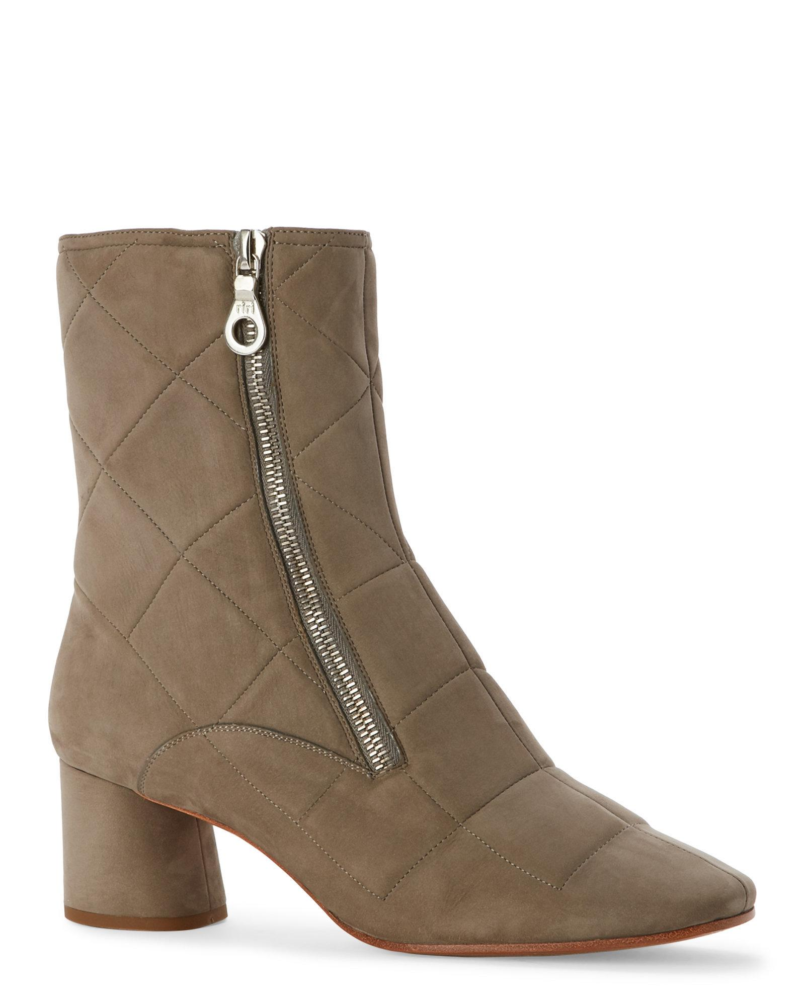 marc grey tripon quilted low heel mod boots in gray