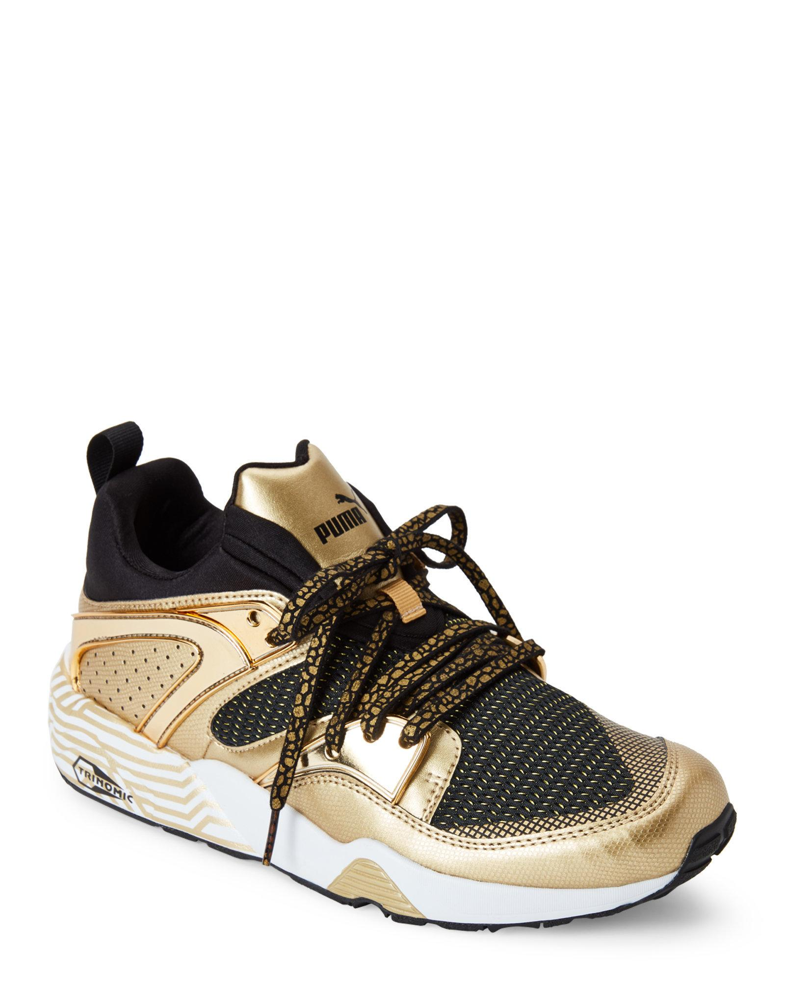 PUMA Black & Gold Blaze Of Glory Metallic Sneakers