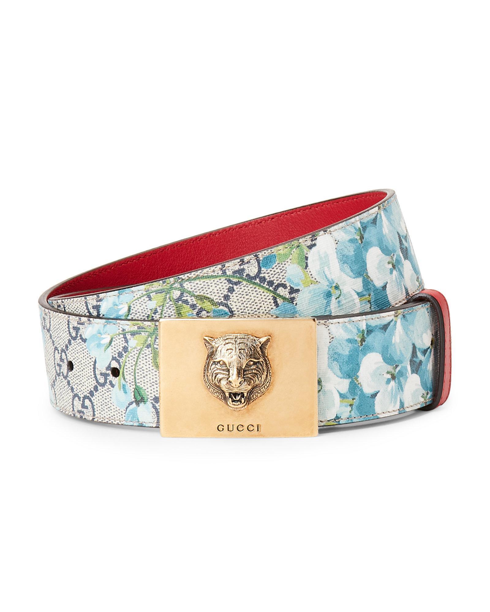 52b100d458d Lyst - Gucci Bloom Logo Feline Buckle Belt in Blue