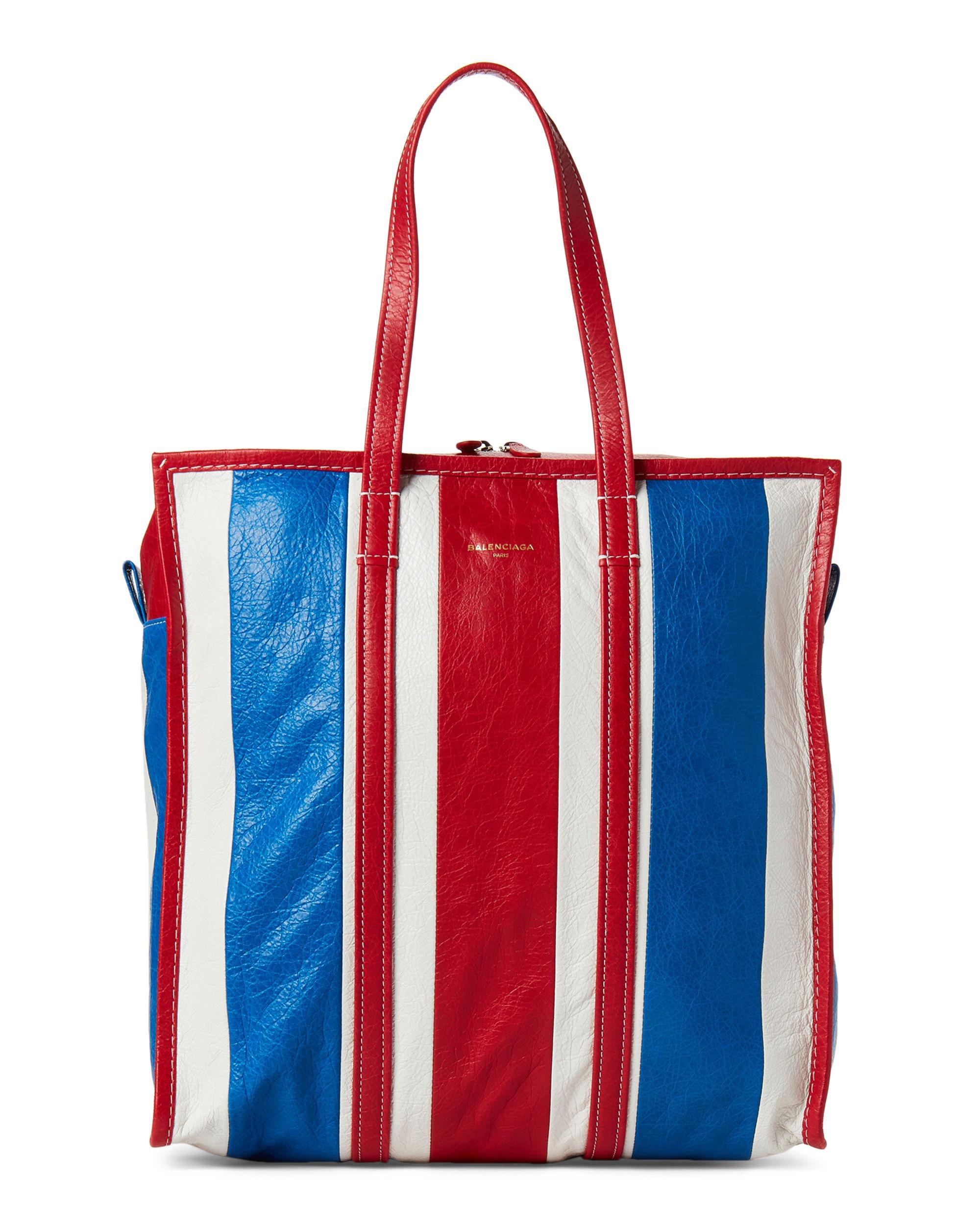 bccaeda2aee Balenciaga Bazar Medium Striped Leather Shopper in Red - Lyst