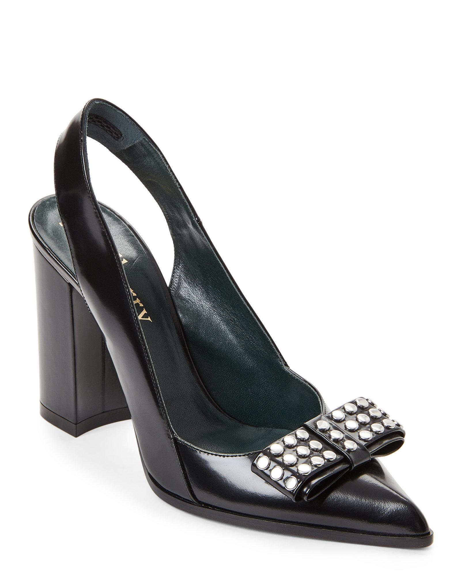 8bd83558d4d1 Lyst - Mulberry Black Studded Bow Leather Slingback Pumps in Black