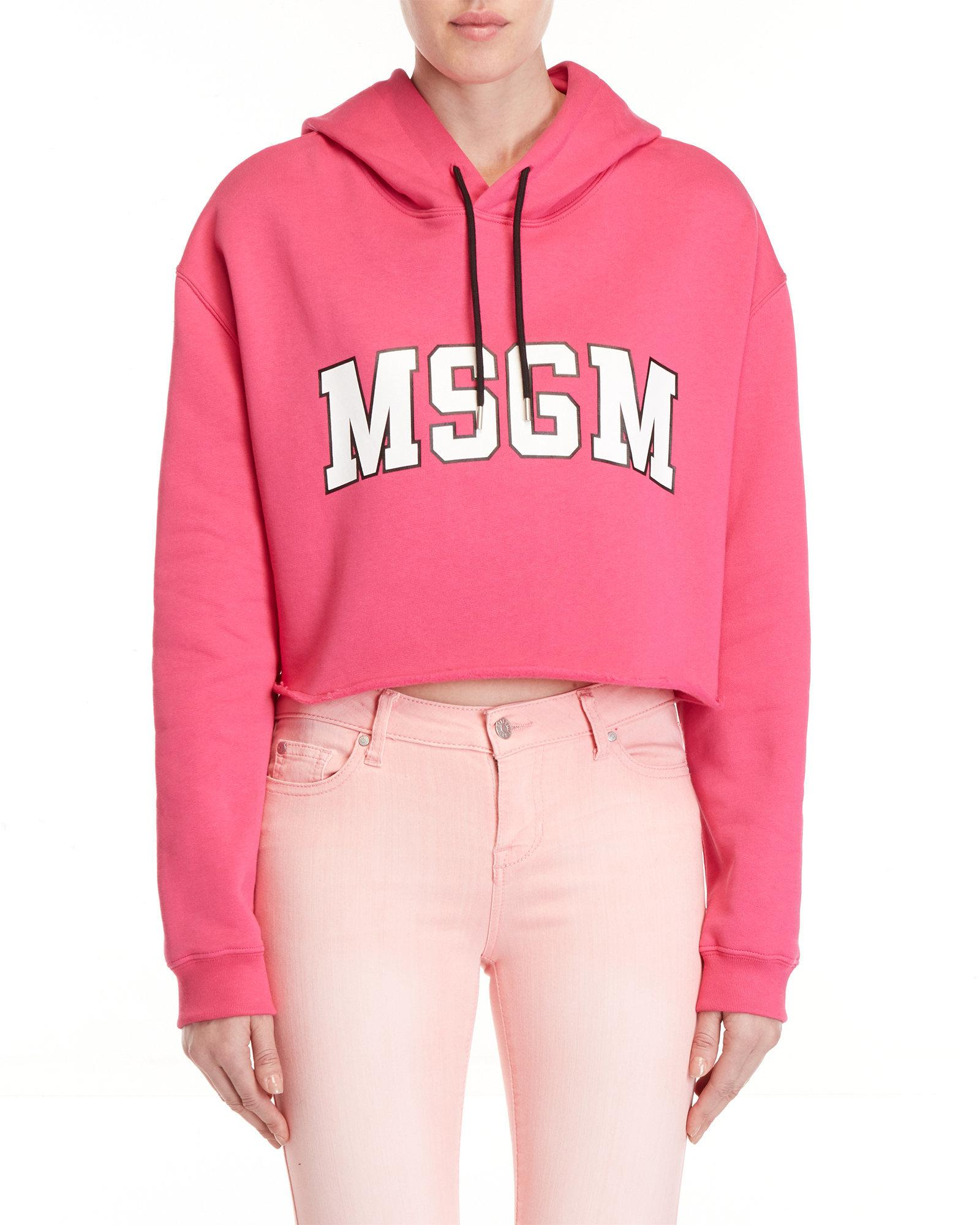 Hoodie Logo Msgm In Lyst Pink Cropped PFtwwq6