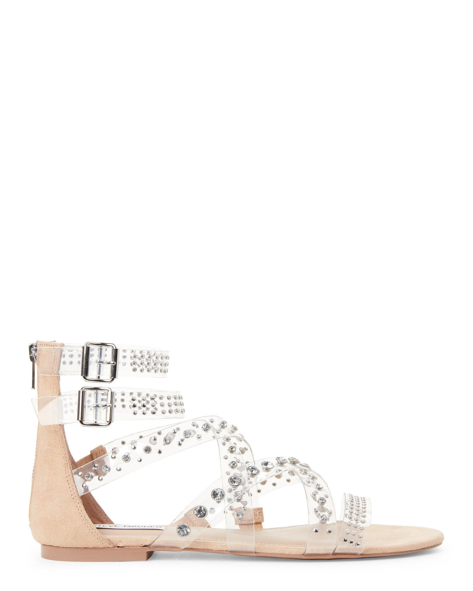 89d50901c37 Steve Madden Multicolor Clear Shift Pvc Studded Strappy Gladiator Sandals