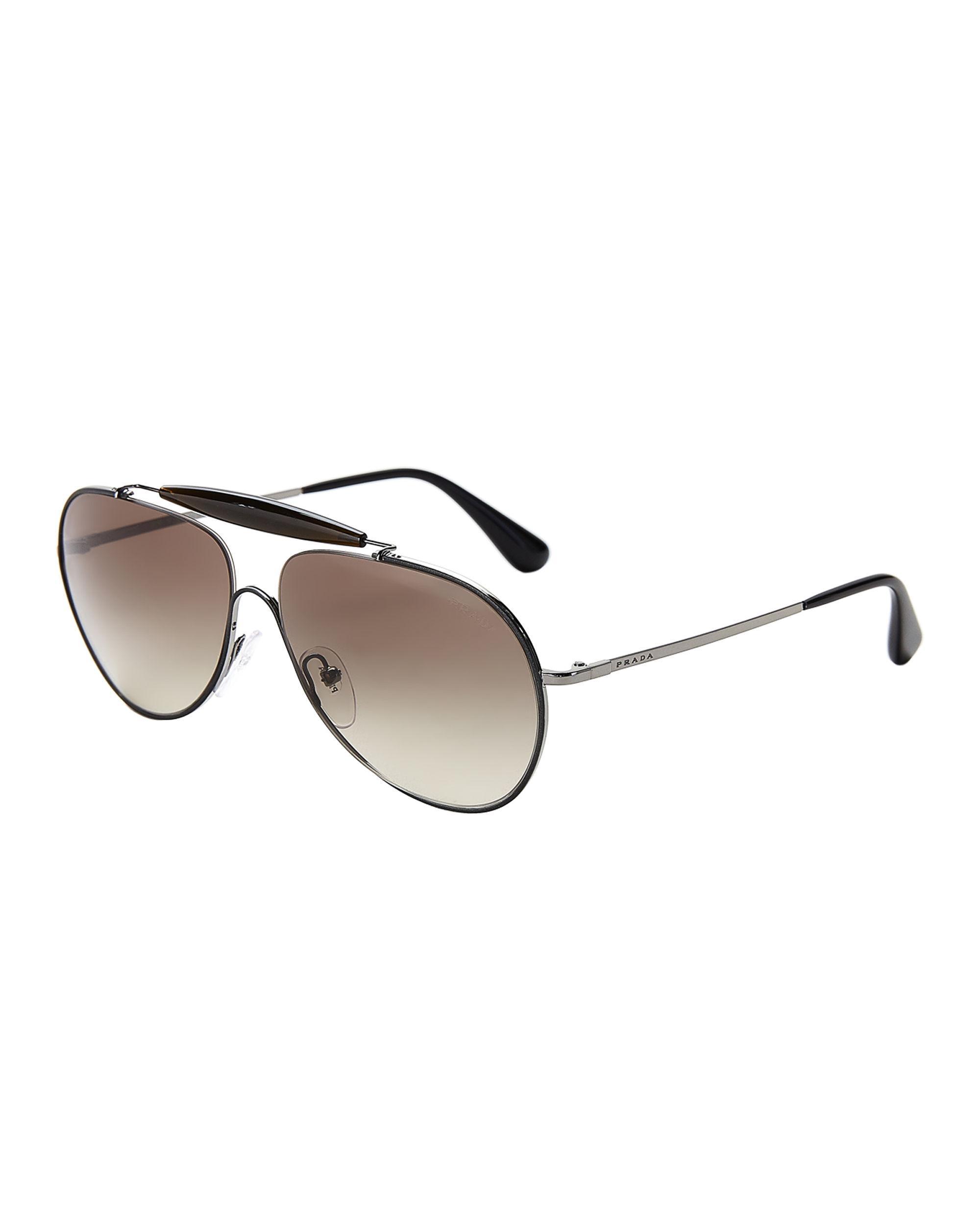 5d6f8aebf25c Prada - Spr 56s Black Aviator Sunglasses for Men - Lyst. View fullscreen