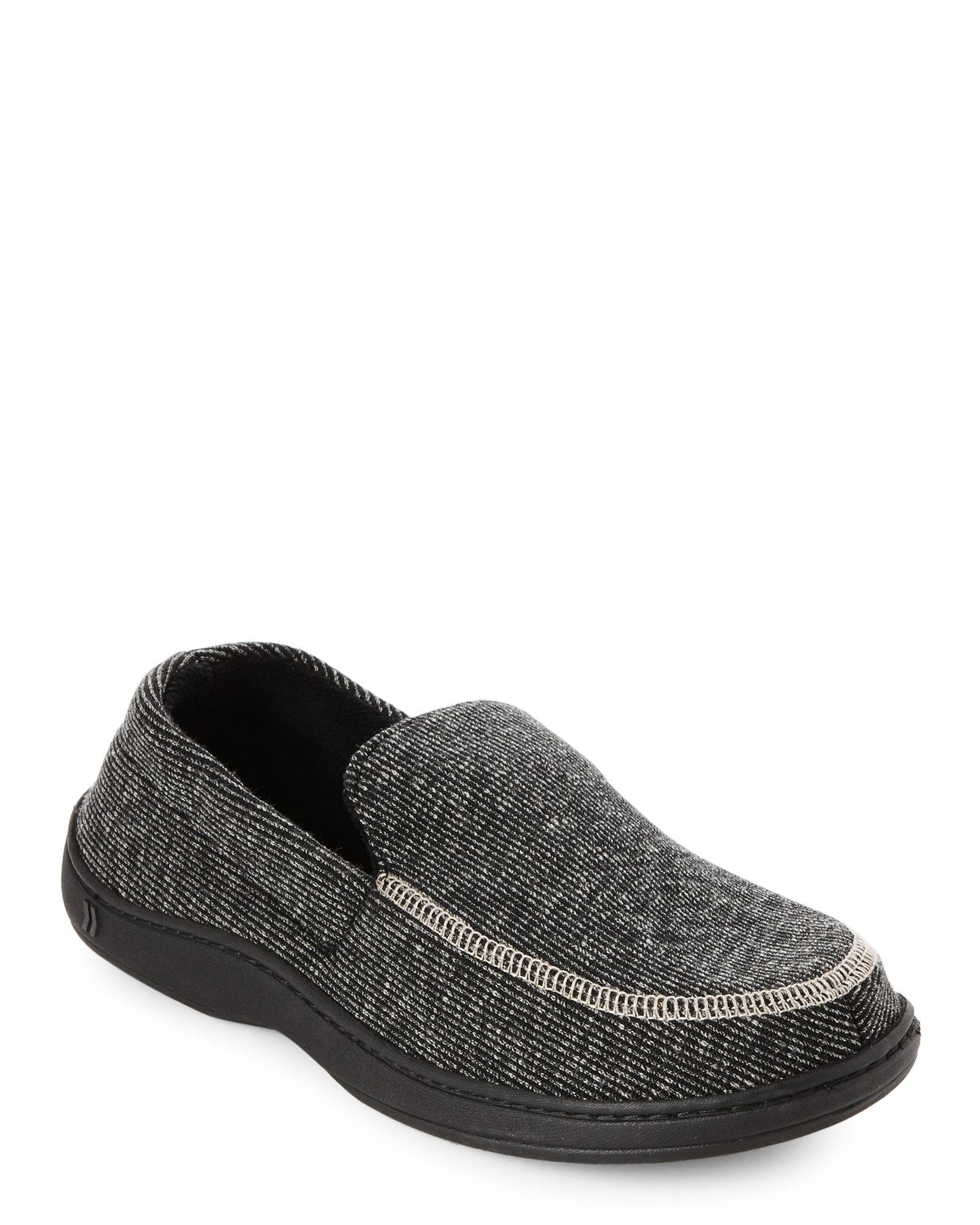 Lyst - Isotoner Black Stripe Moccasin Slippers in Black for Men 24d1b0e938e1