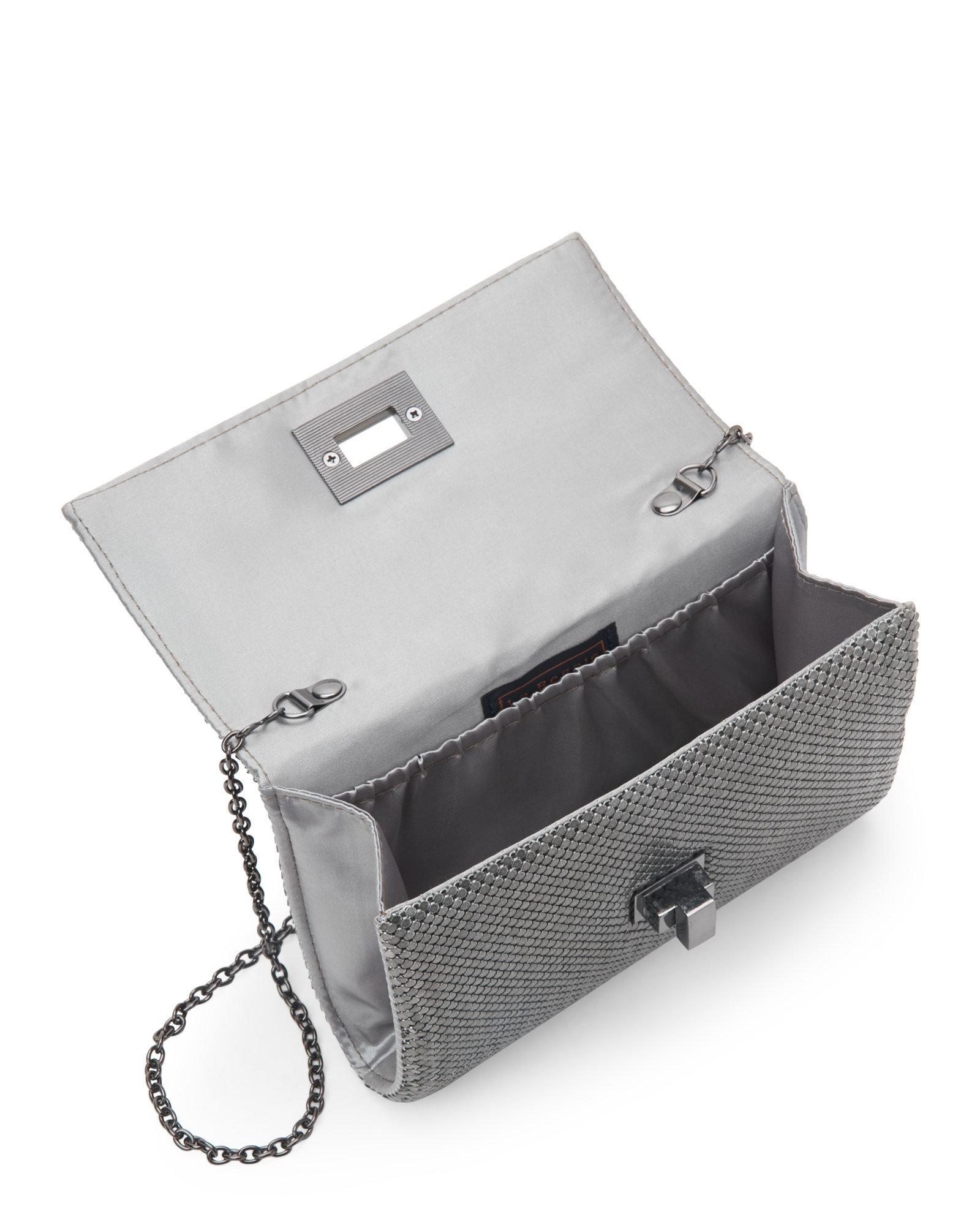 la regale pewter mesh turn lock flap clutch in metallic lyst. Black Bedroom Furniture Sets. Home Design Ideas