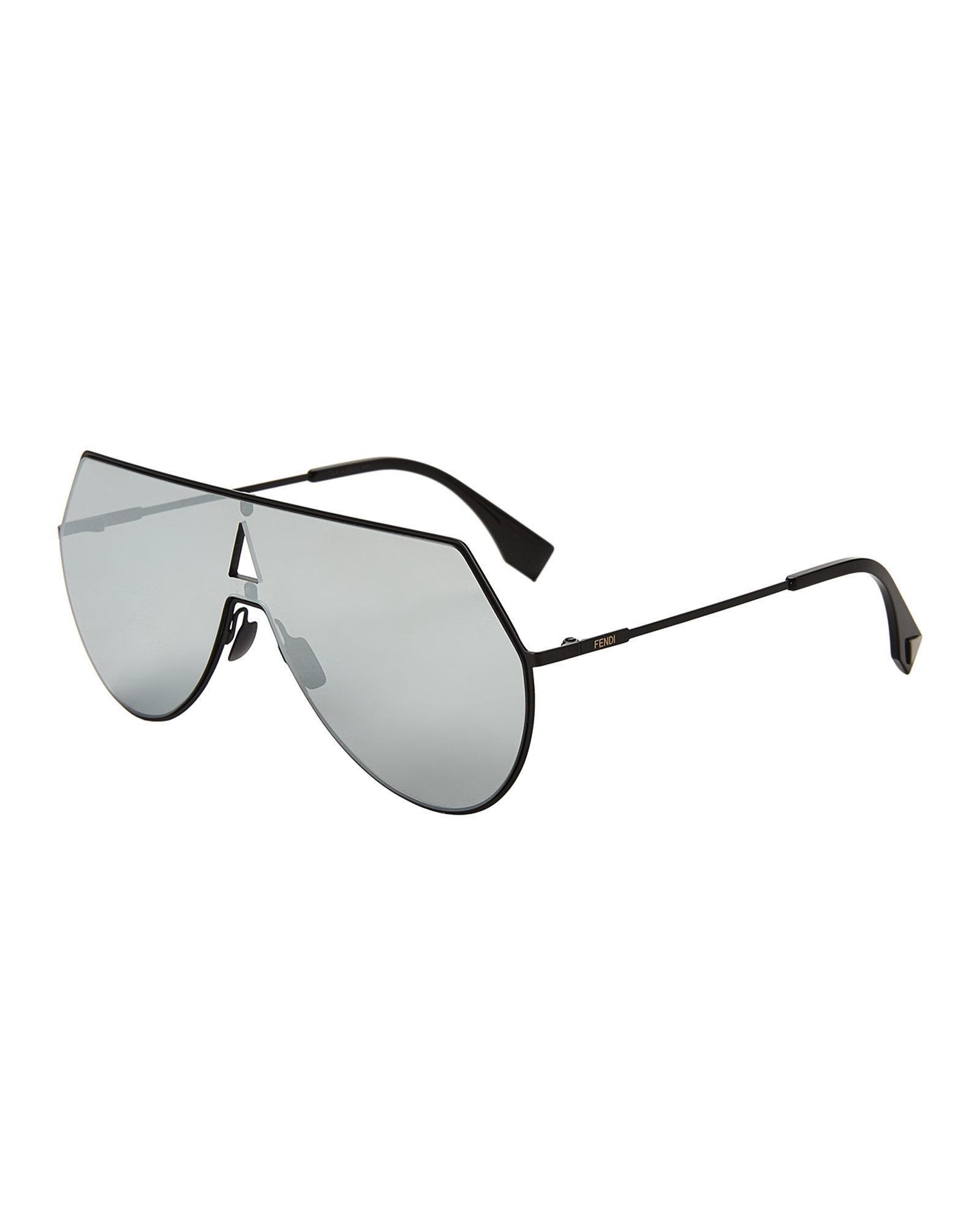 5e1b39da72d0 Lyst - Fendi Ff 0193 s Matte Black Shield Sunglasses in Black