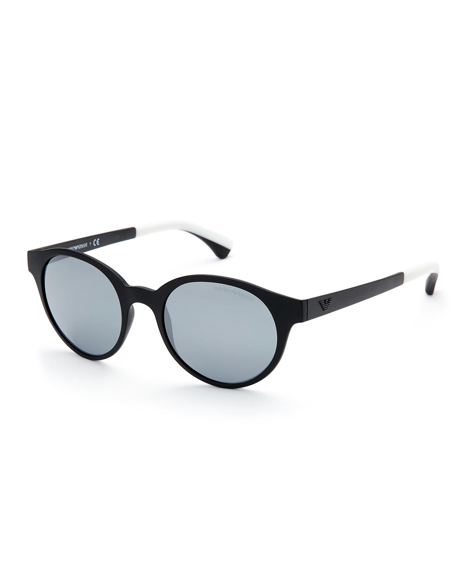 ce5d6db65529 Emporio armani Black Ea 4045 Retro Round Sunglasses in Gray for Men