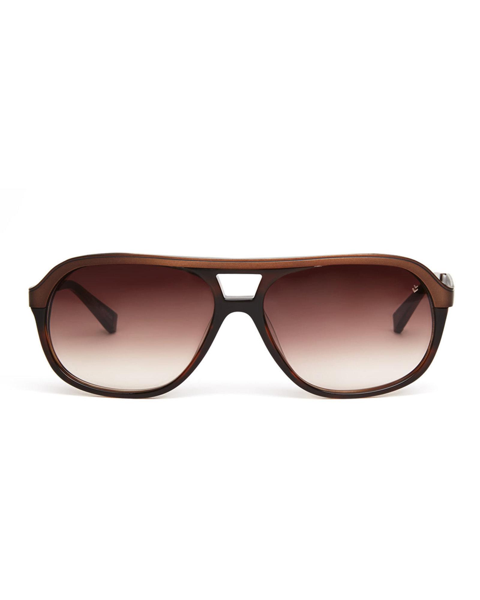 John Varvatos V767 Brown Horn Aviator Sunglasses In Brown