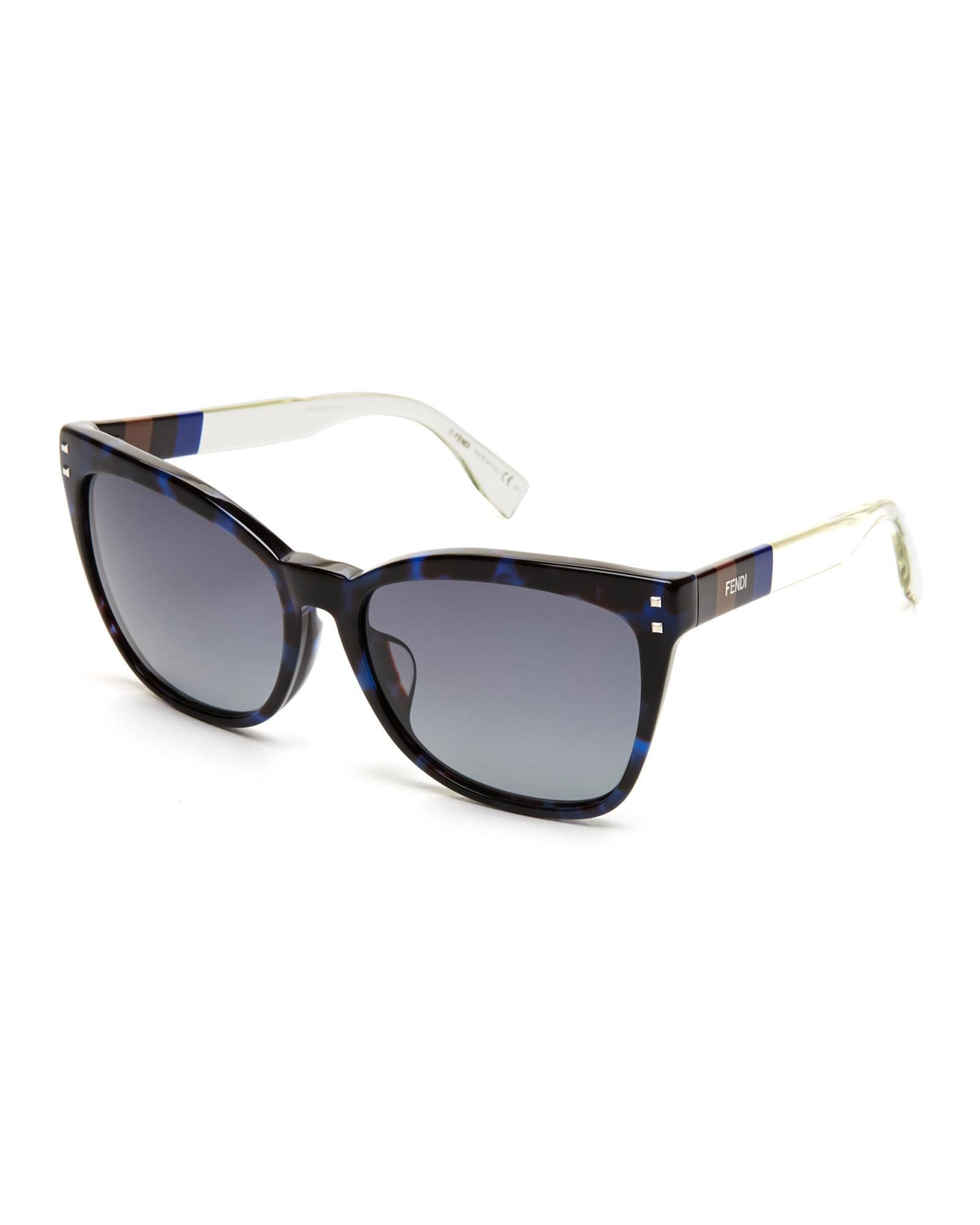 ab613fb3b0676 Fendi Ff0098 Blue   White Cat Eye Sunglasses in Blue