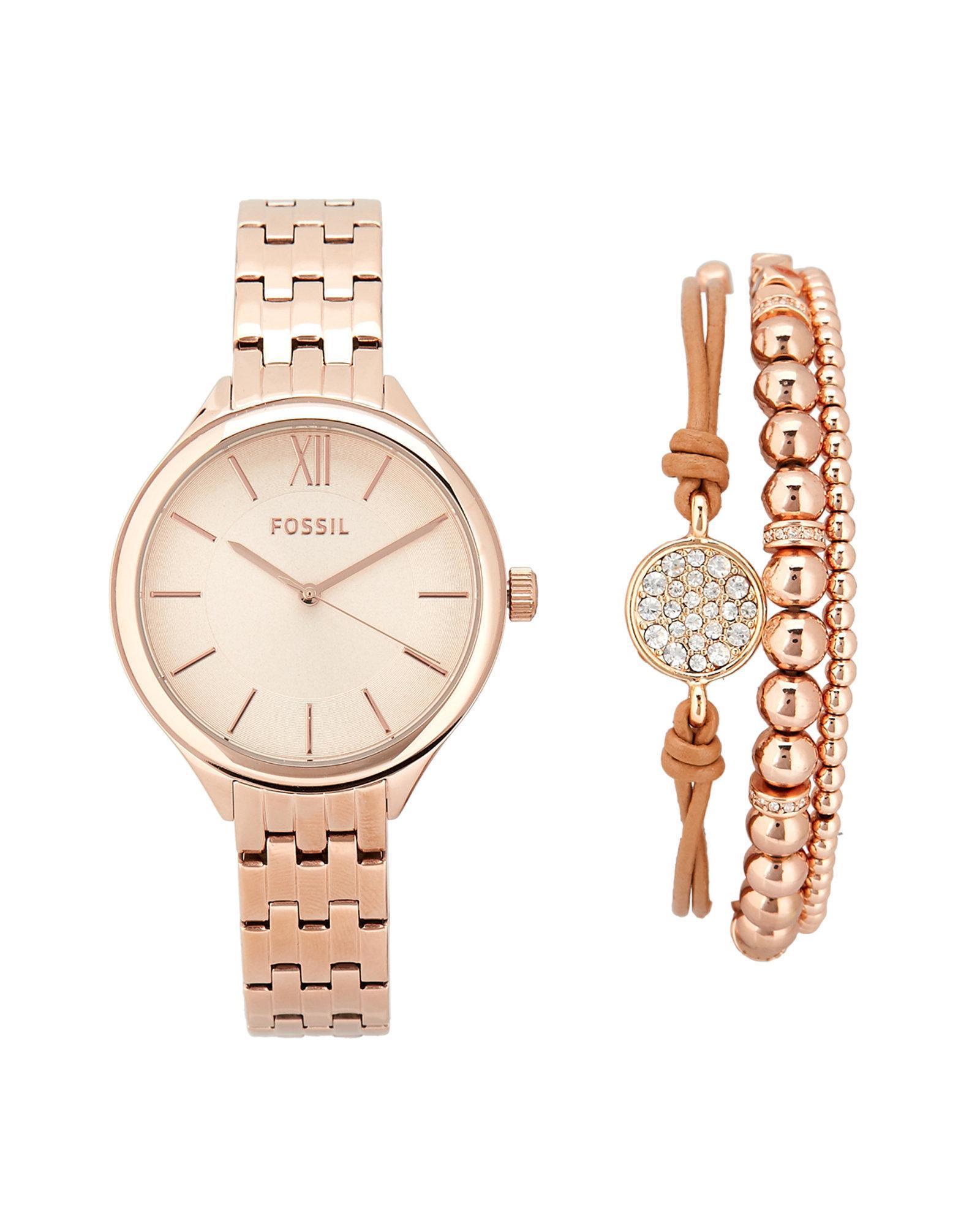 Bq3078 Rose Gold Tone Watch Bracelet Set