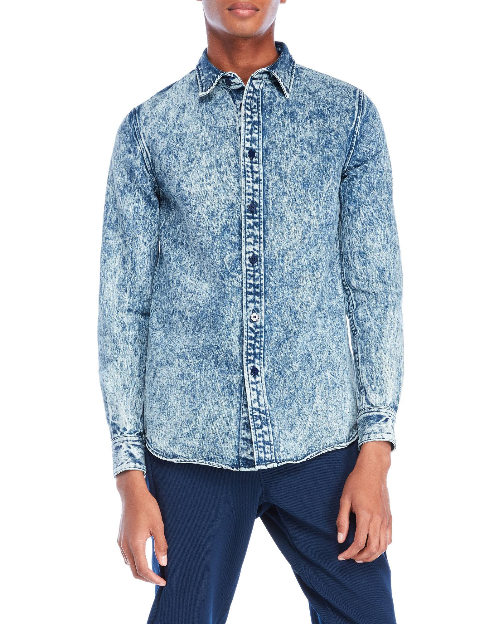 7ca36051461 Lyst - Han Kjobenhavn Everyday Acid Wash Denim Shirt in Blue for Men