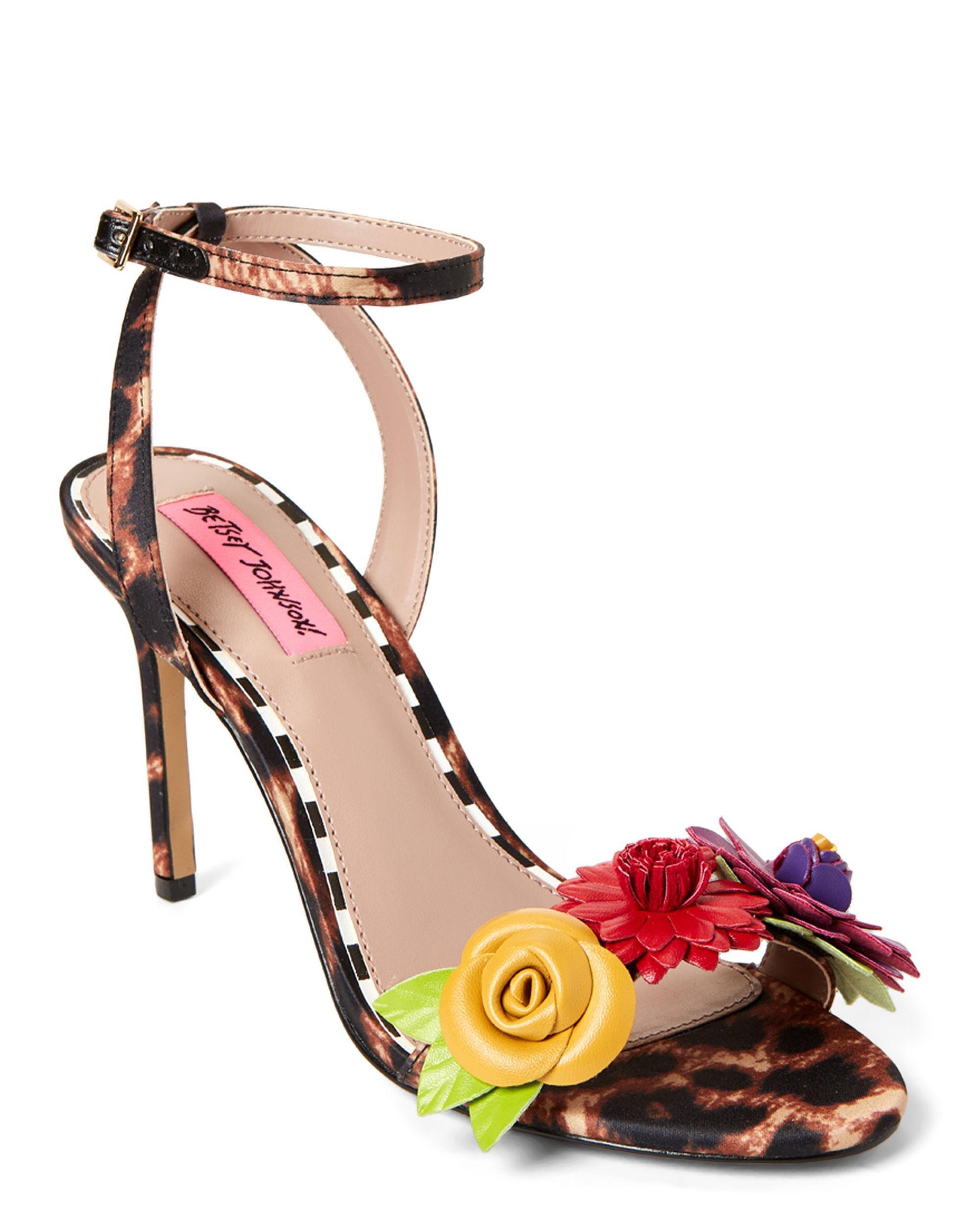 401db0fa4 Lyst - Betsey Johnson Floral Leopard Print Dress Sandals - Save 38%