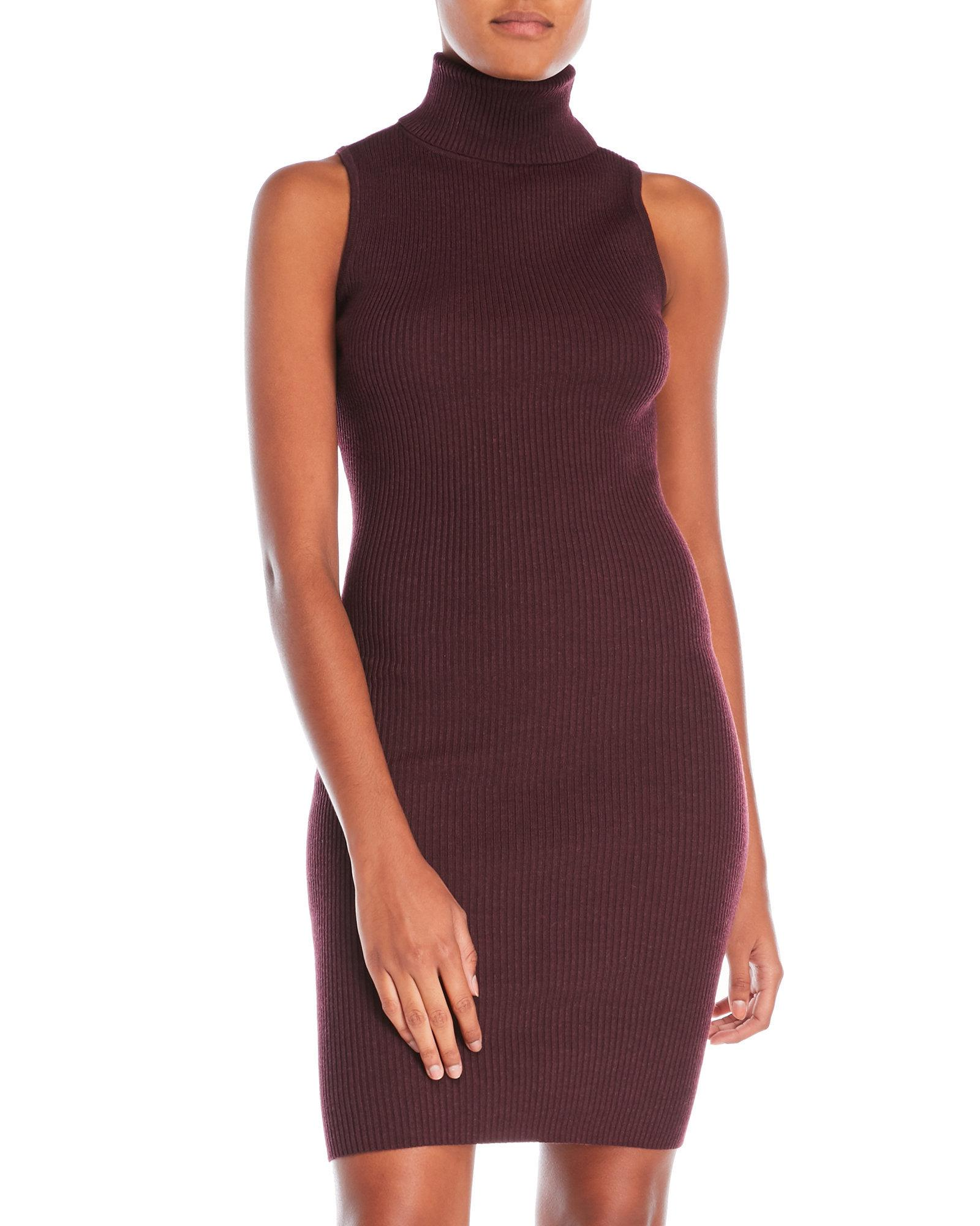 Lyst - Romeo and Juliet Couture Turtleneck Ribbed Dress in Red a74dd9ef6