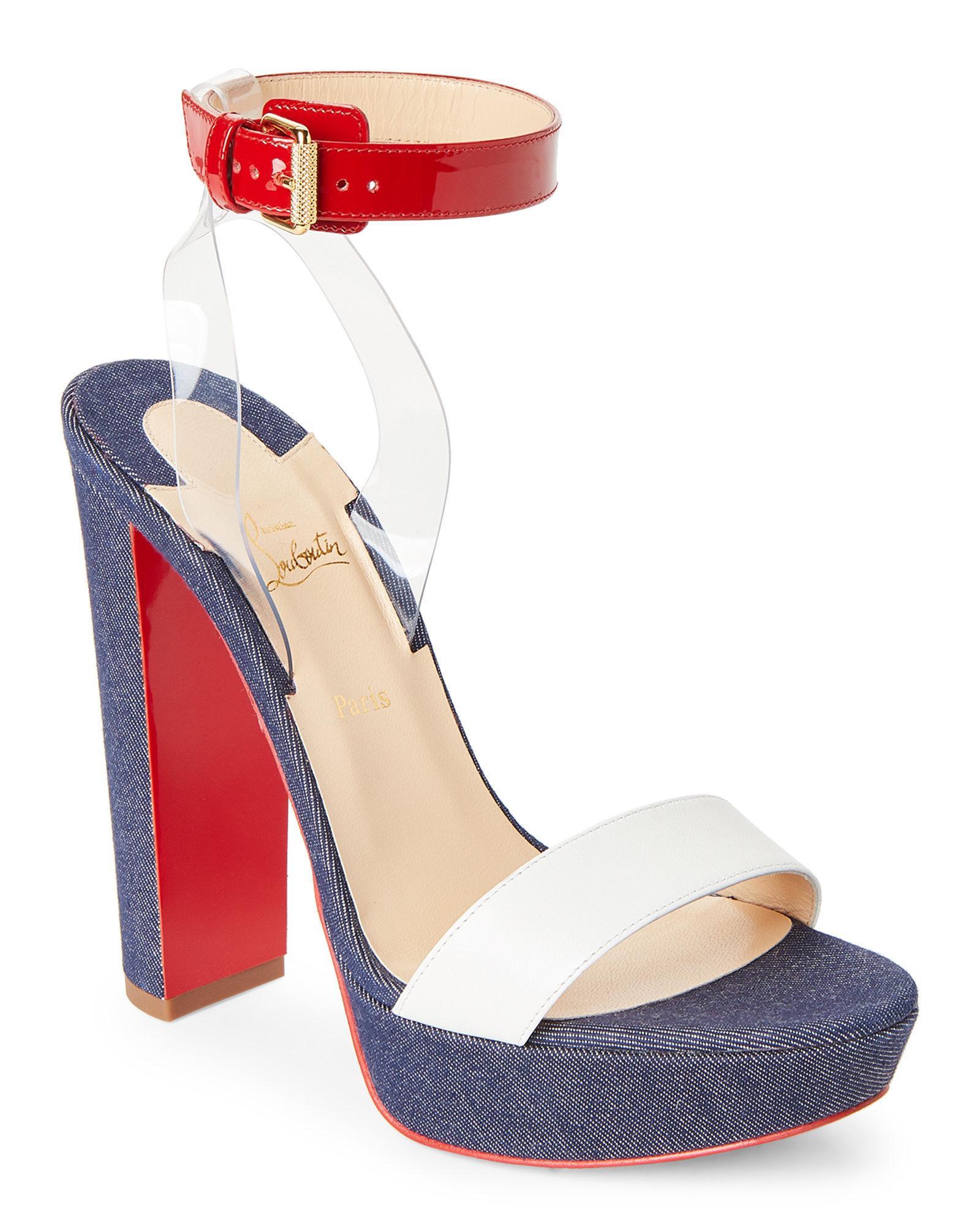 233540c6236 Christian Louboutin Blue Denim Platform Block Heel Sandals